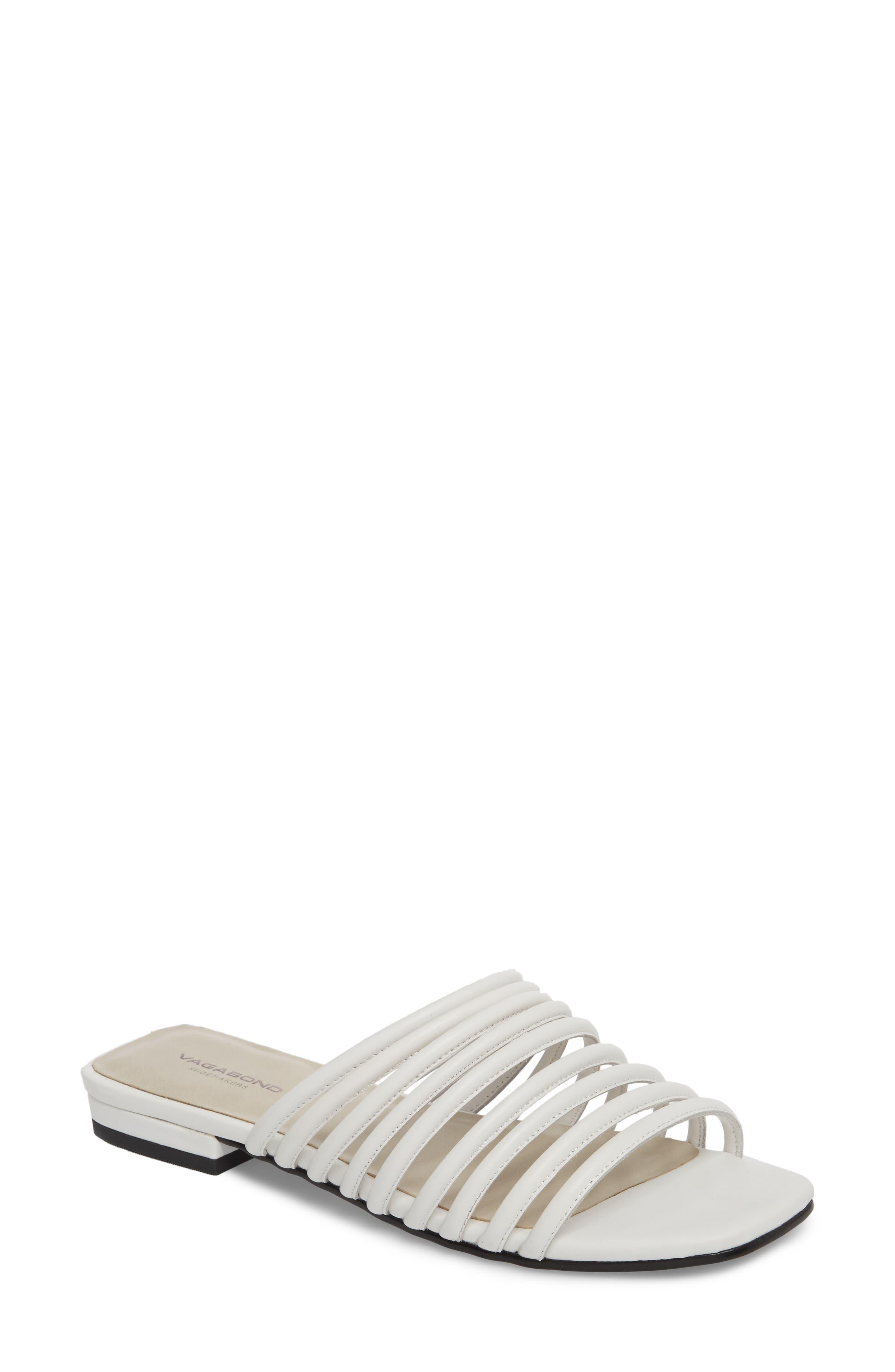 Becky Slide Sandal,                             Main thumbnail 1, color,                             White Leather
