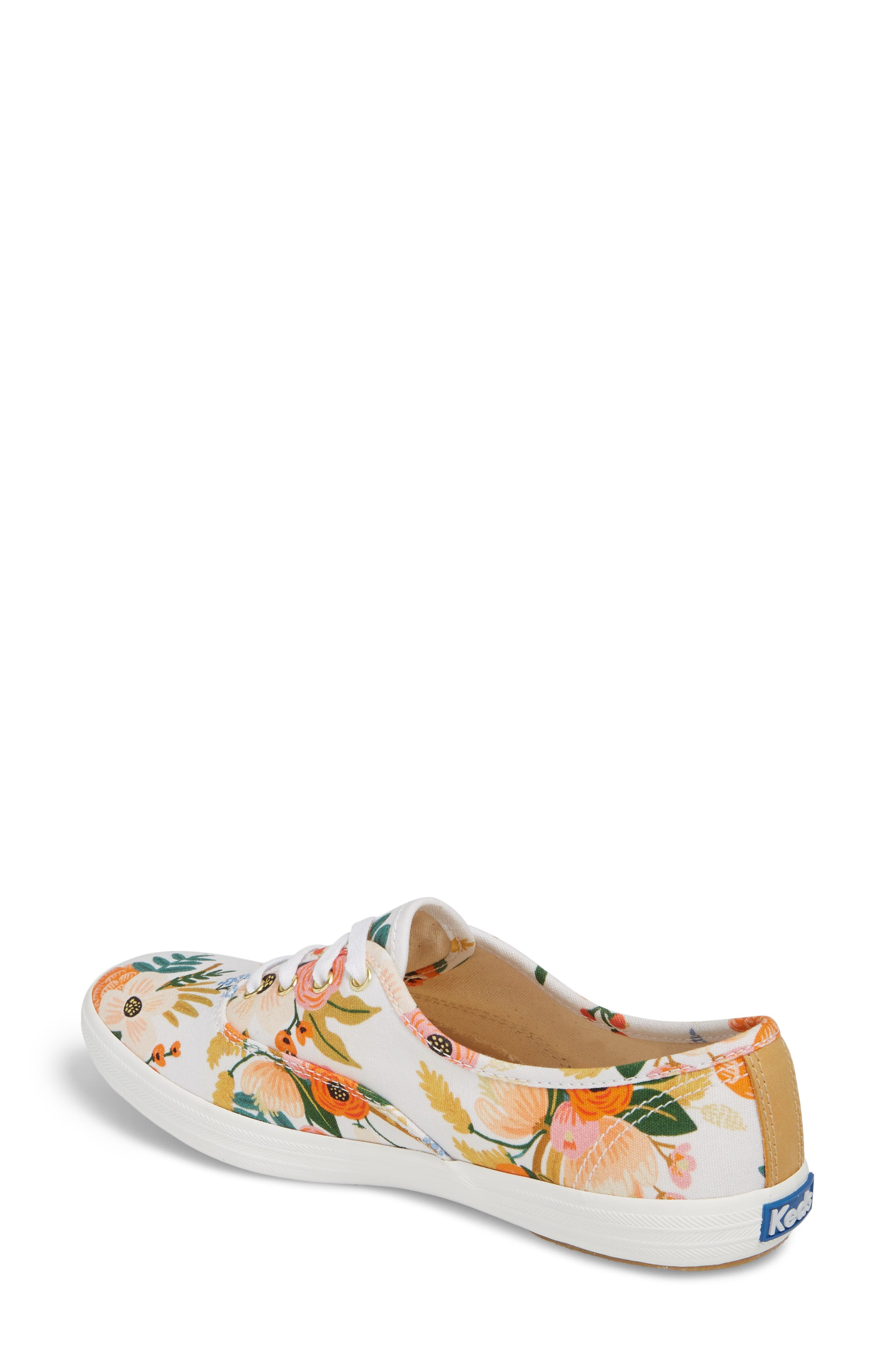 x Rifle Paper Co. Champion Floral Print Sneaker,                             Alternate thumbnail 2, color,                             White