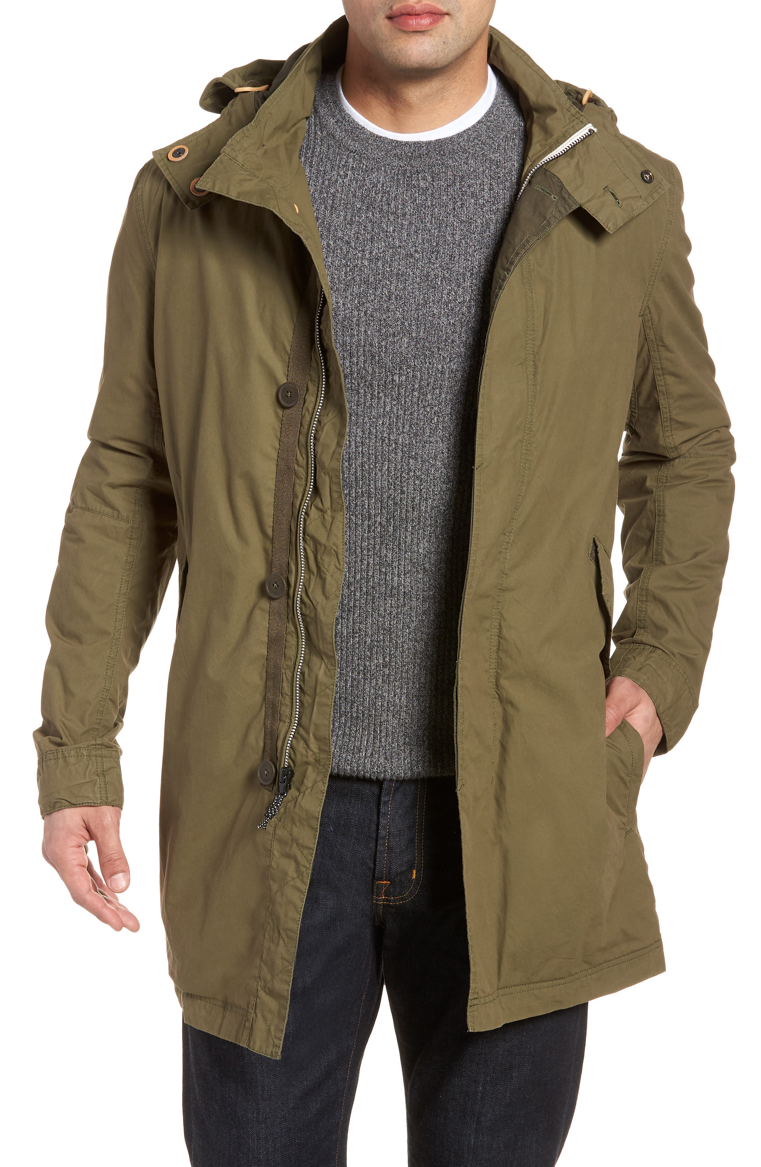 Lightweight Hooded Parka,                         Main,                         color, Fatigue