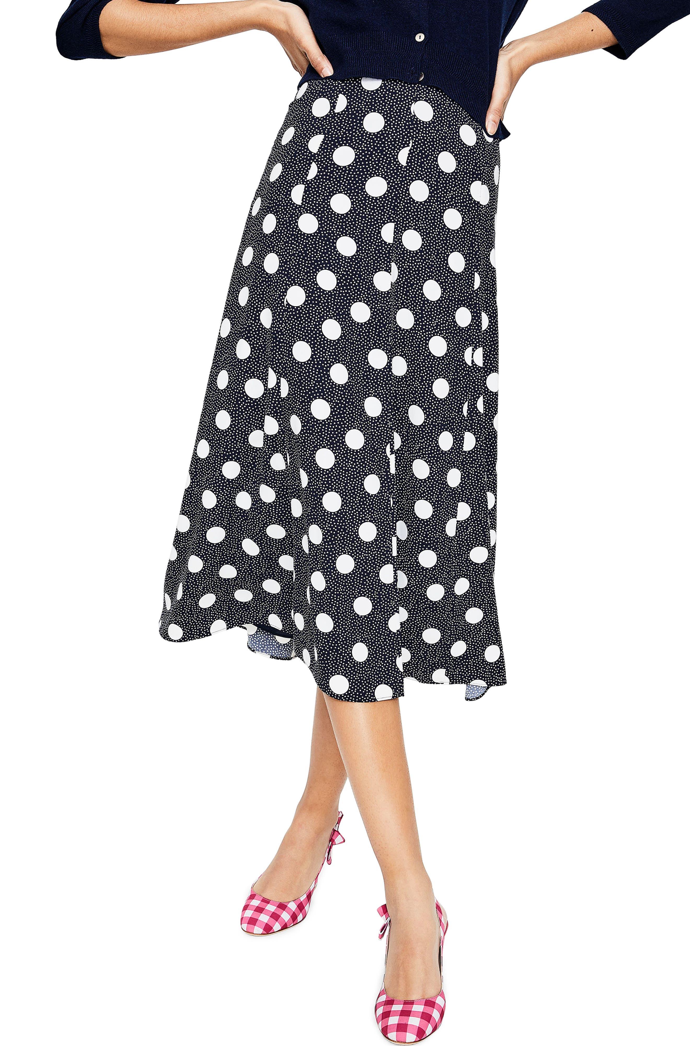 Floaty Polka Dot Midi Skirt,                             Main thumbnail 1, color,                             Navy Spot On Spot