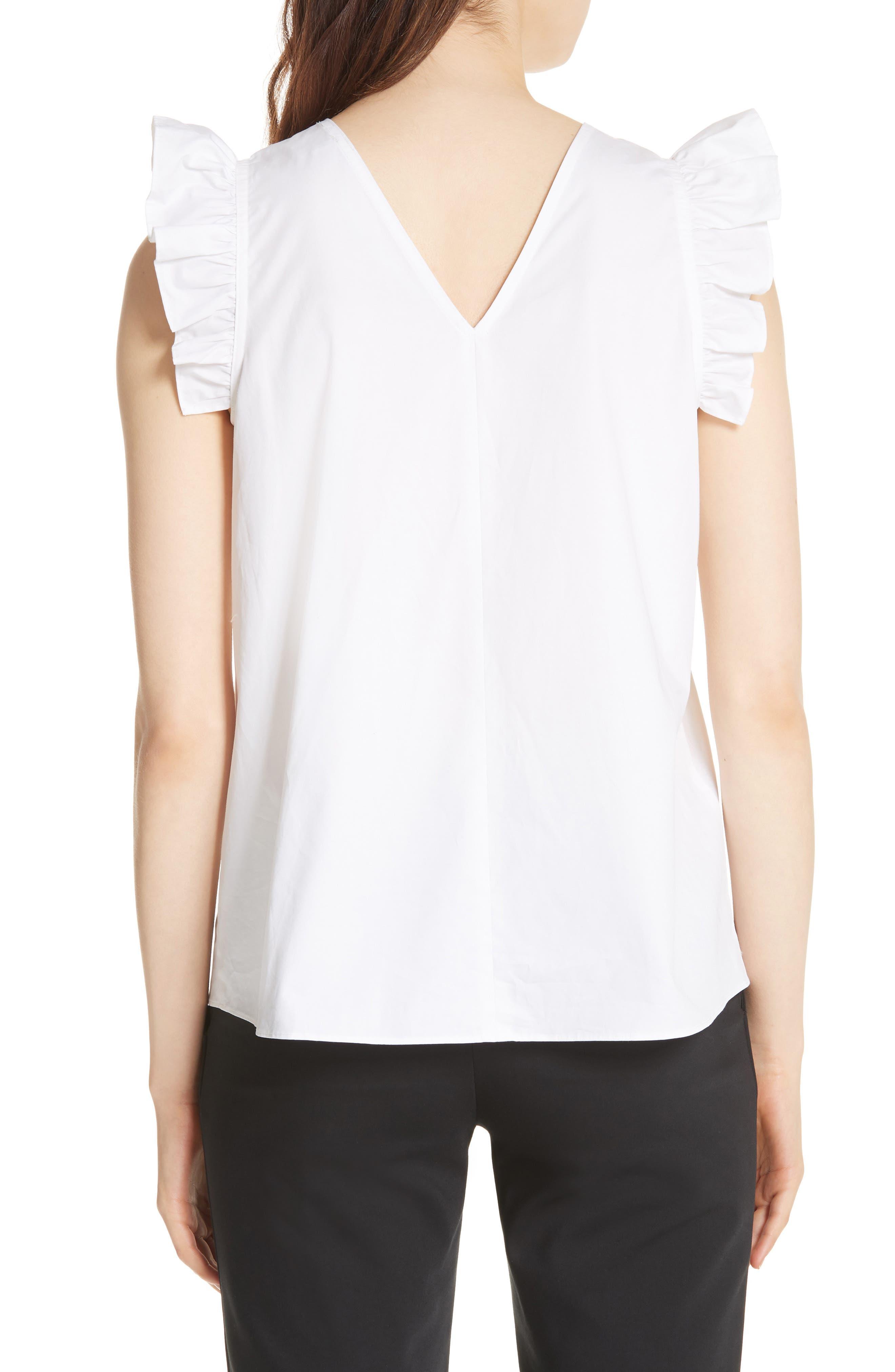 ruffled cotton top,                             Alternate thumbnail 2, color,                             Fresh White