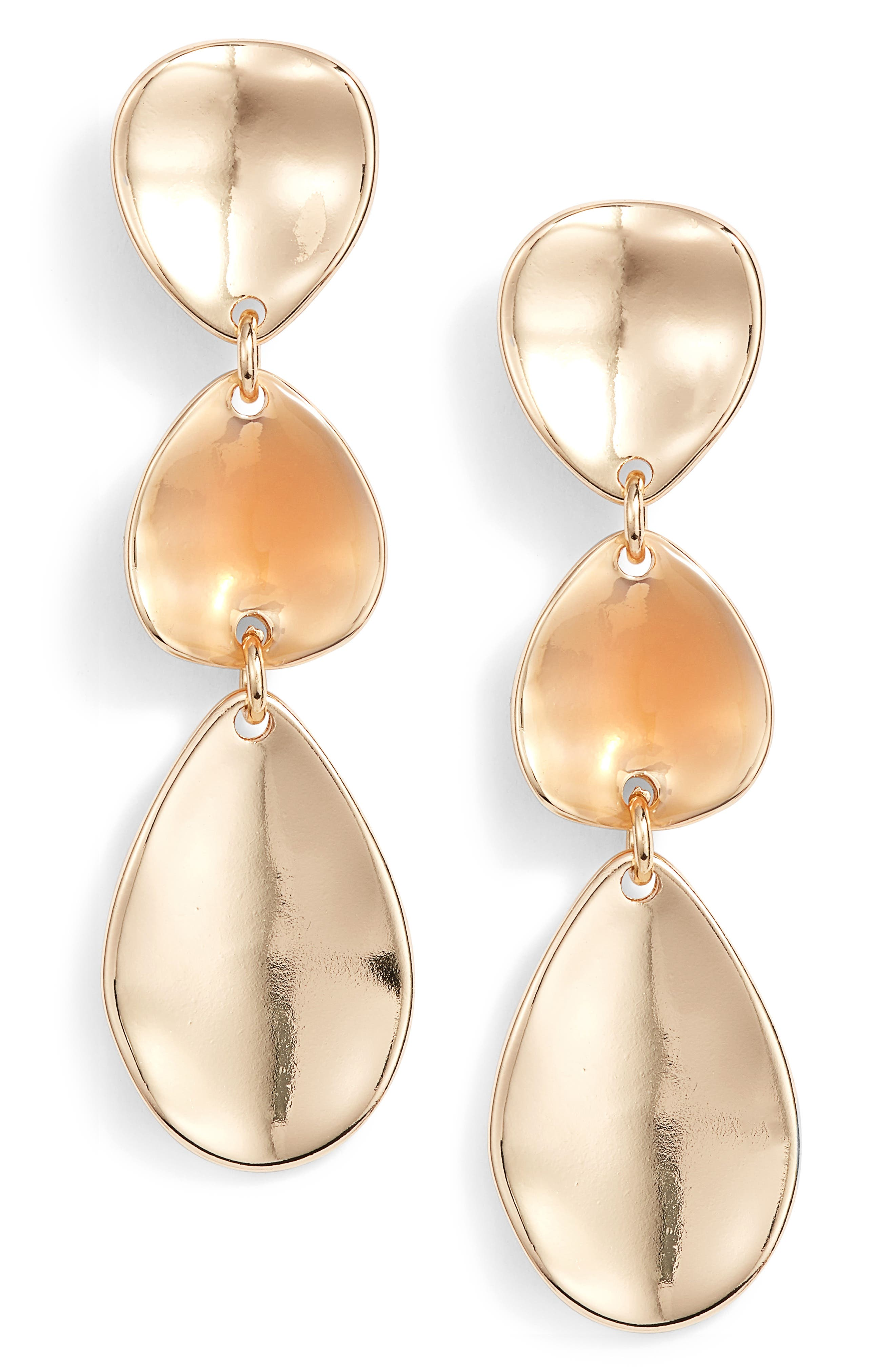 Painted Petal Triple Drop Earrings,                             Main thumbnail 1, color,                             Blush- Gold