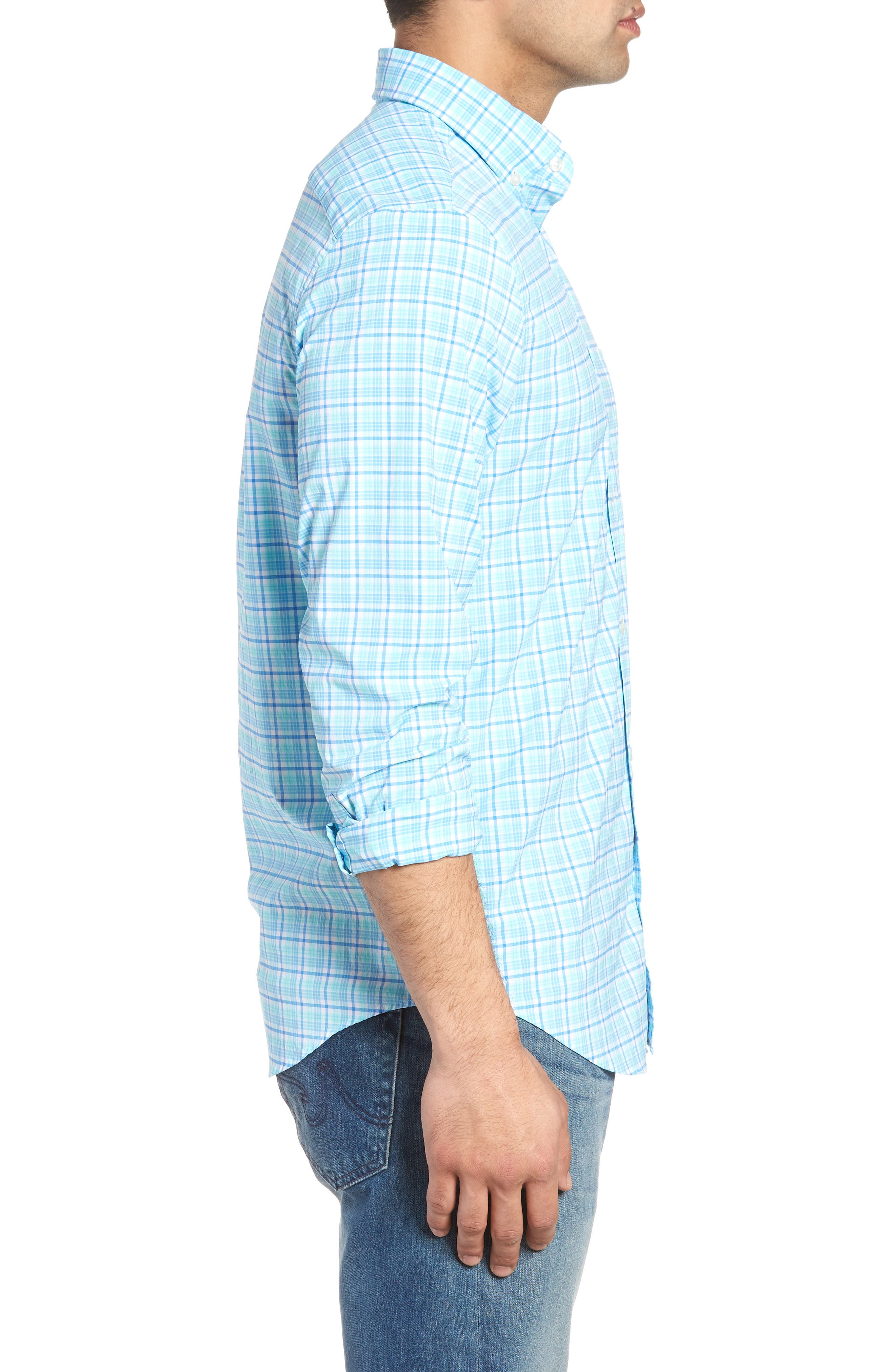 Tipsy Bar Classic Fit Stretch Plaid Sport Shirt,                             Alternate thumbnail 4, color,                             Turquoise