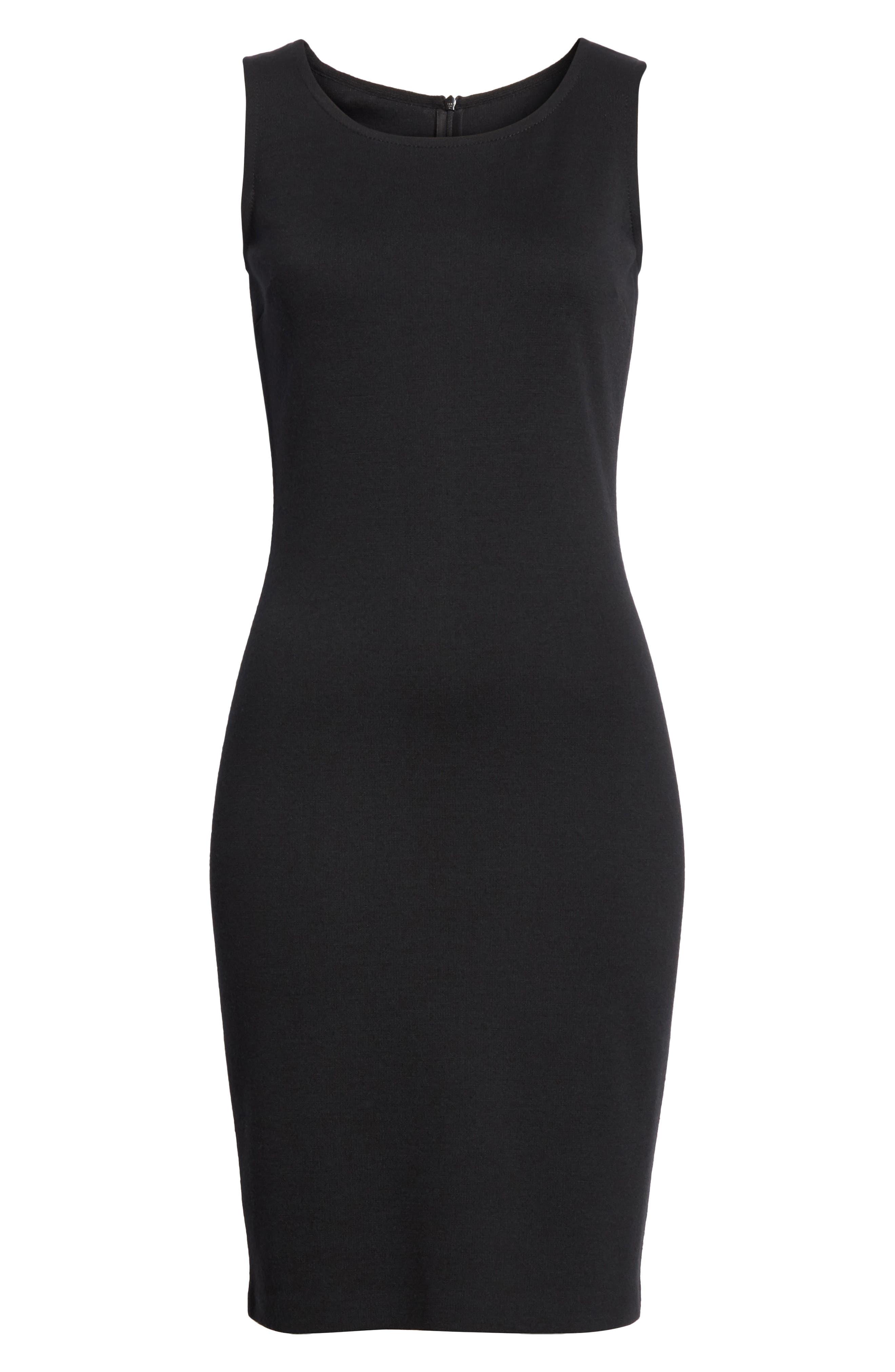 Sleeveless Milano Knit Dress,                             Alternate thumbnail 6, color,                             Caviar