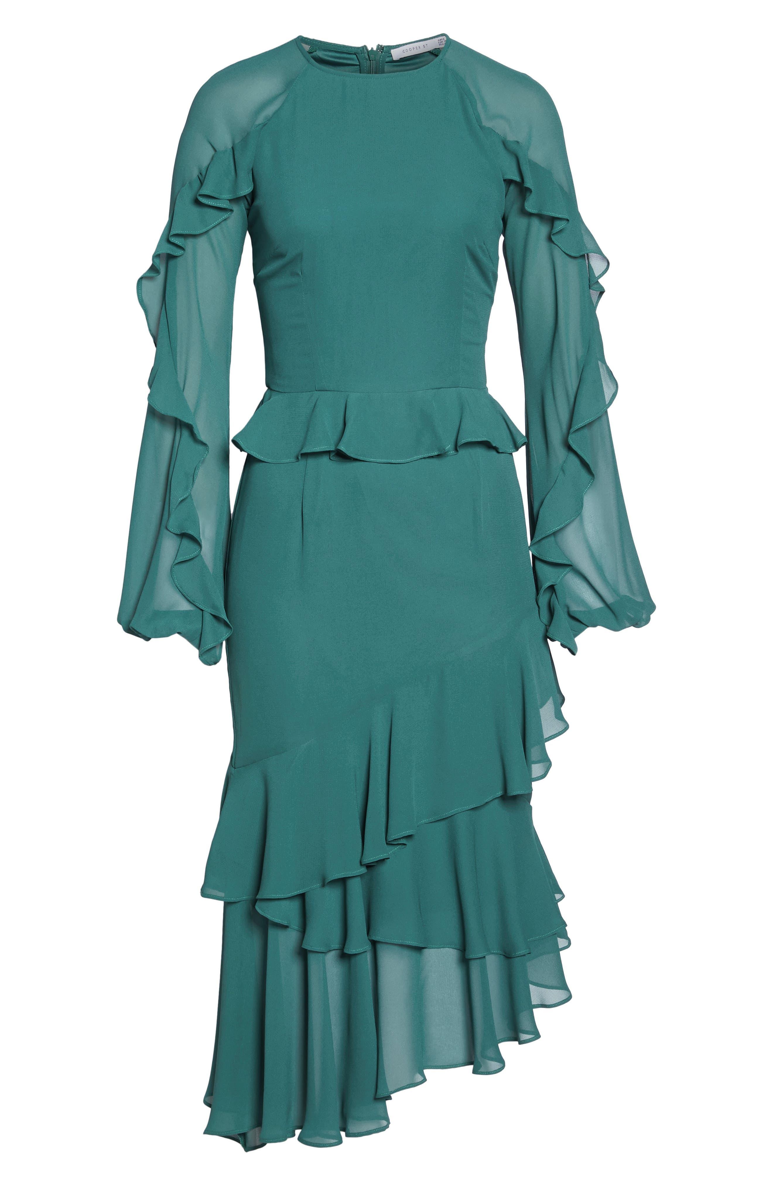 Dawn Drift Ruffle Midi Dress,                             Alternate thumbnail 6, color,                             North Sea