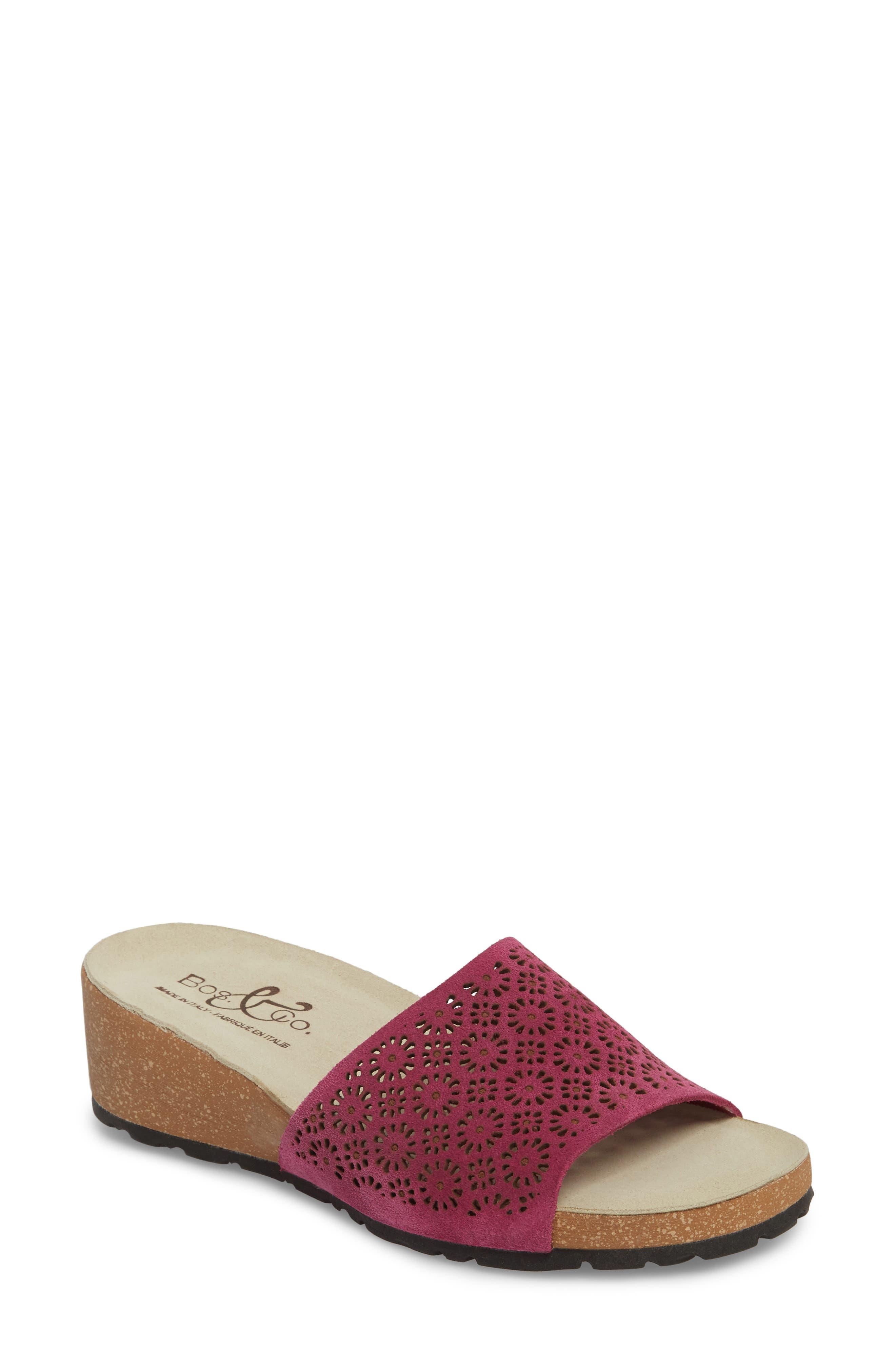 Loa Wedge Slide Sandal,                         Main,                         color, Fuchsia Suede