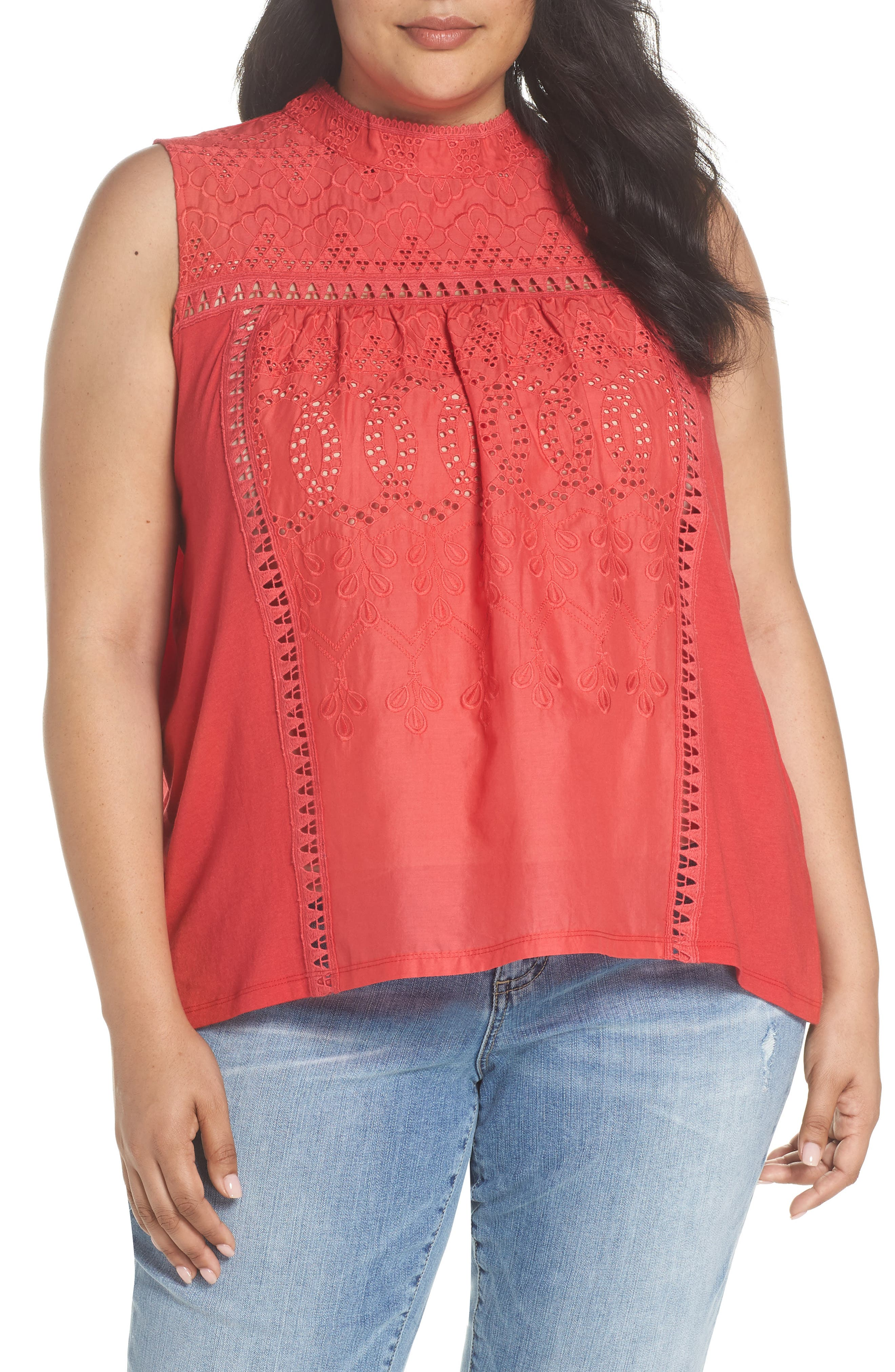 Caslon® Embroidered High Neck Tank (Plus Size)