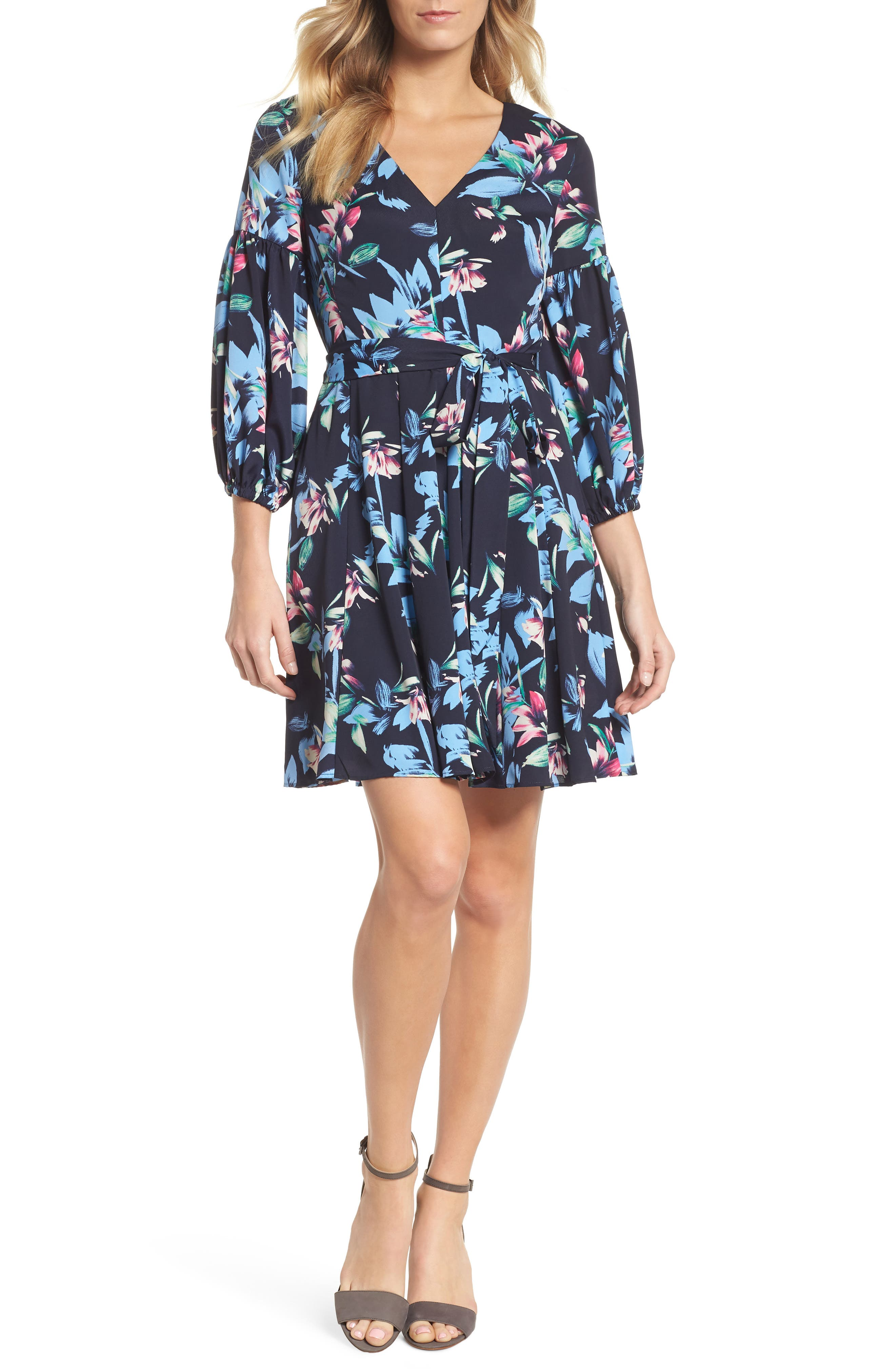 Balloon Sleeve Fit & Flare Dress,                             Main thumbnail 1, color,                             Navy
