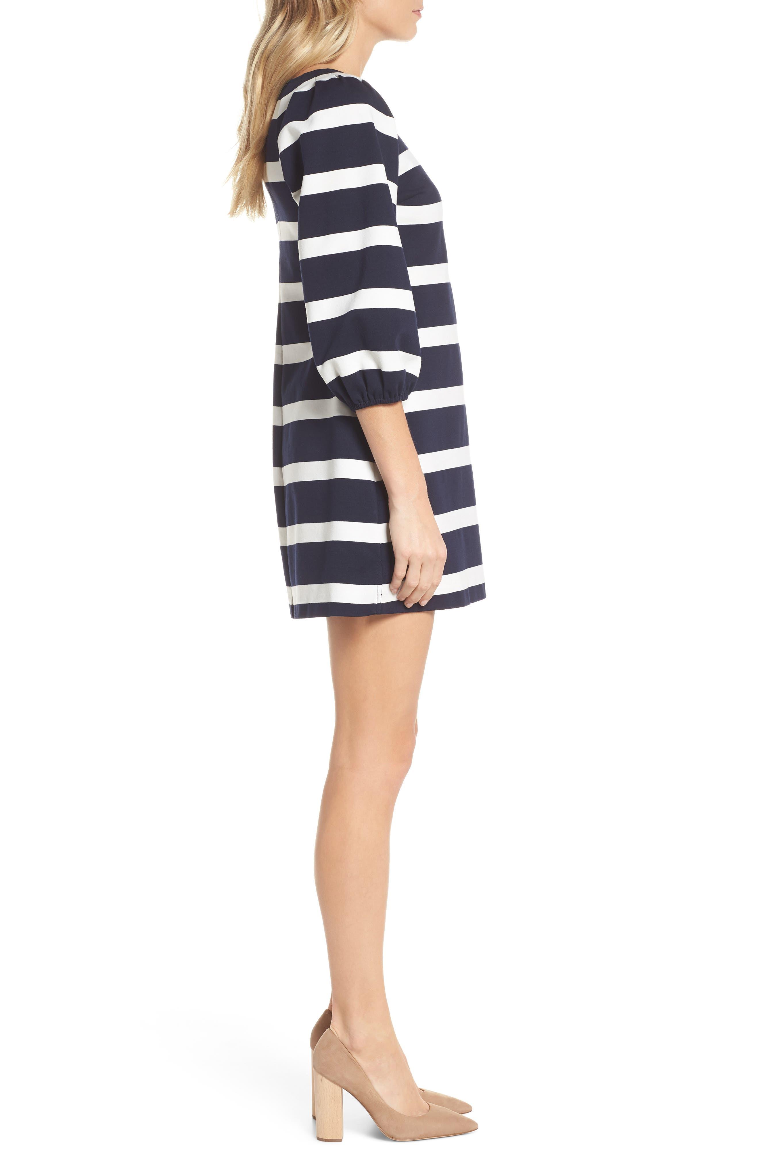 Stripe Balloon Sleeve Shift Dress,                             Alternate thumbnail 3, color,                             Navy/ Ivory