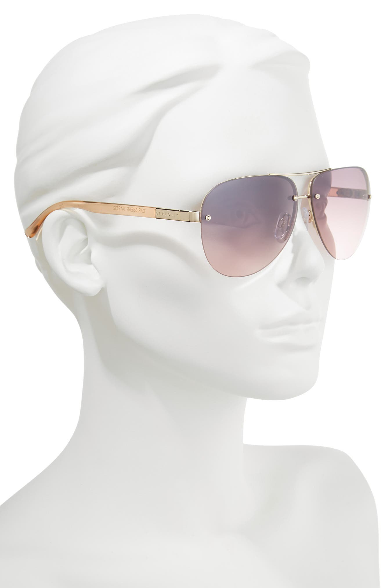 Caribbean 62mm Rimless Aviator Sunglasses,                             Alternate thumbnail 2, color,                             Gold