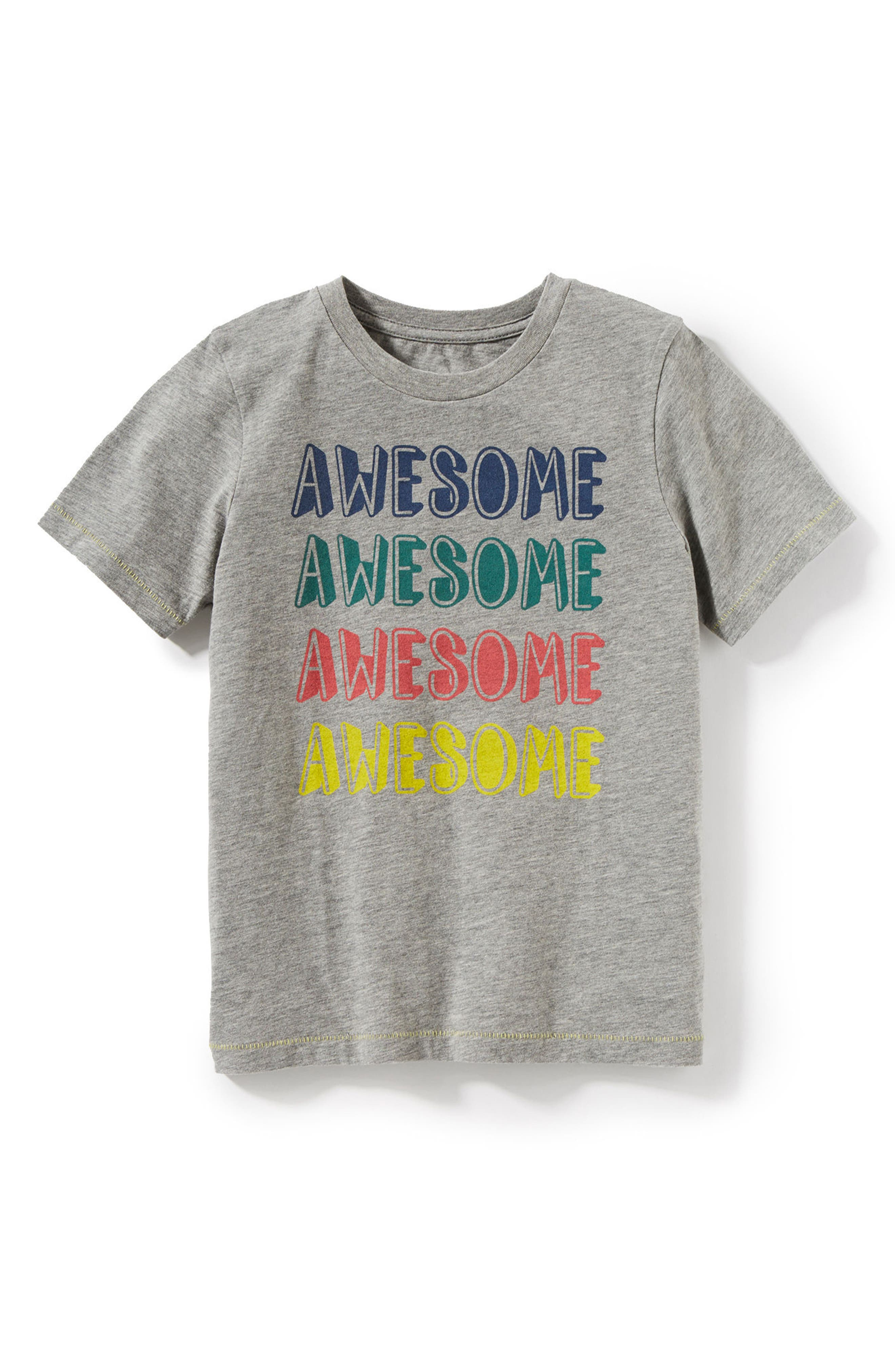 Awesome Graphic T-Shirt,                             Main thumbnail 1, color,                             Heather Grey