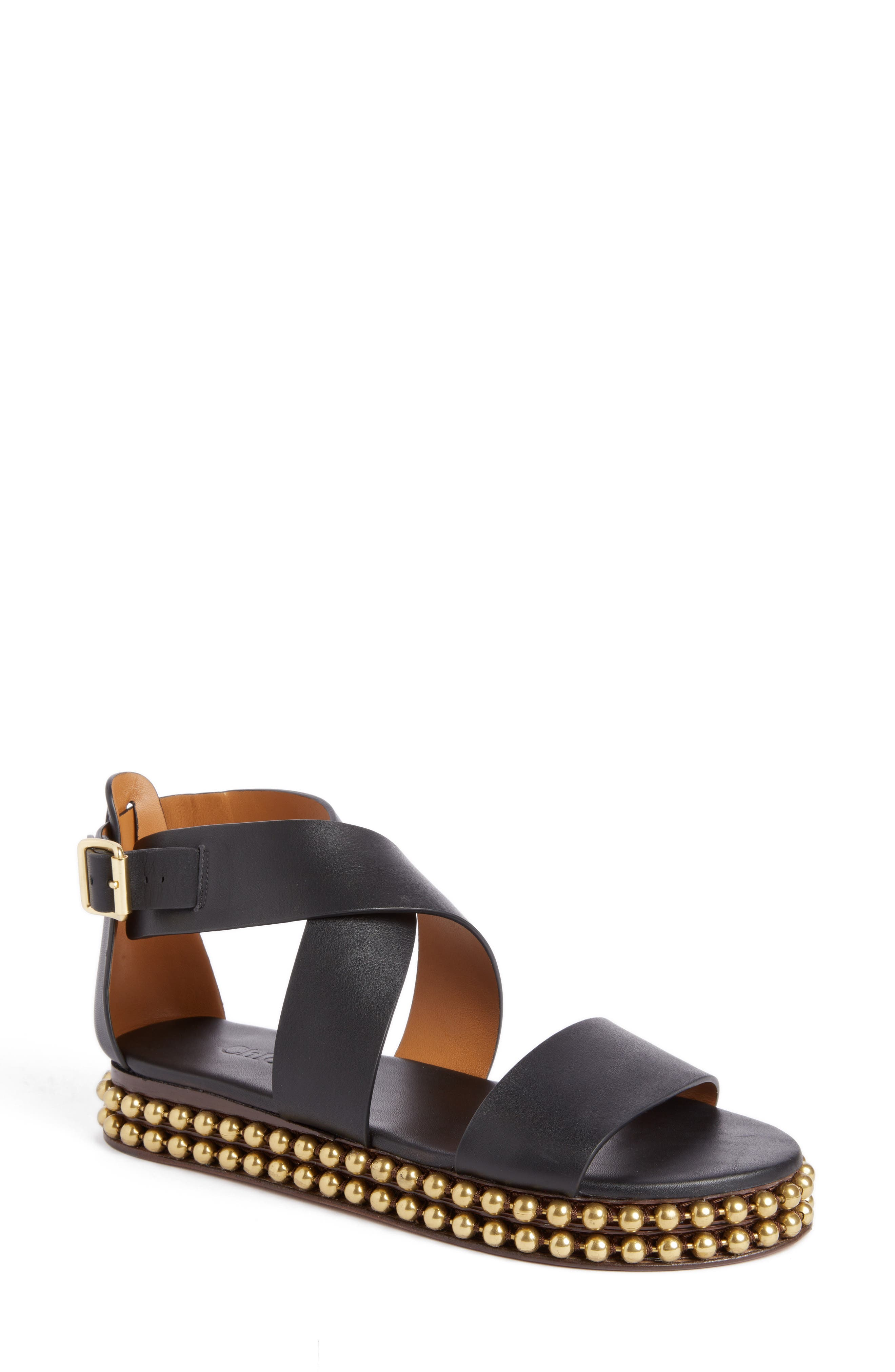 Chloé Sawyer Strappy Studded Sandal (Women)