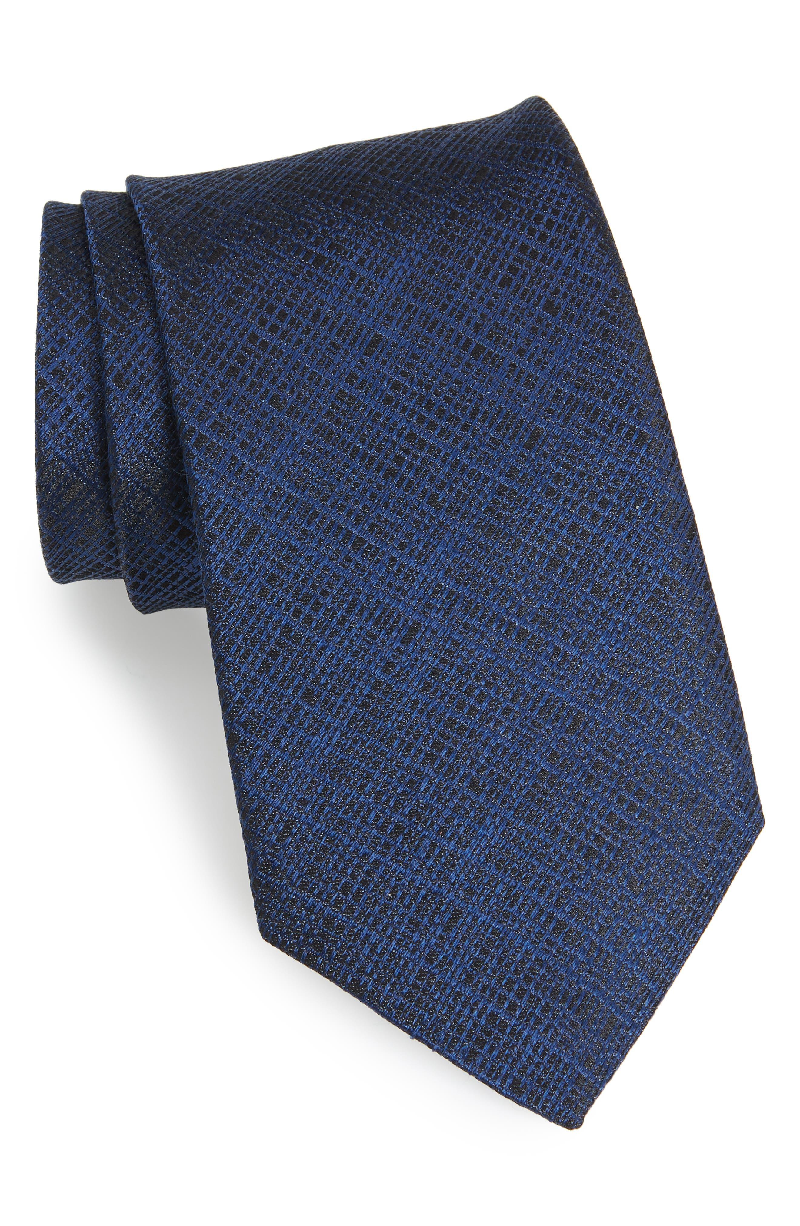 Grid Silk Tie,                         Main,                         color, Navy