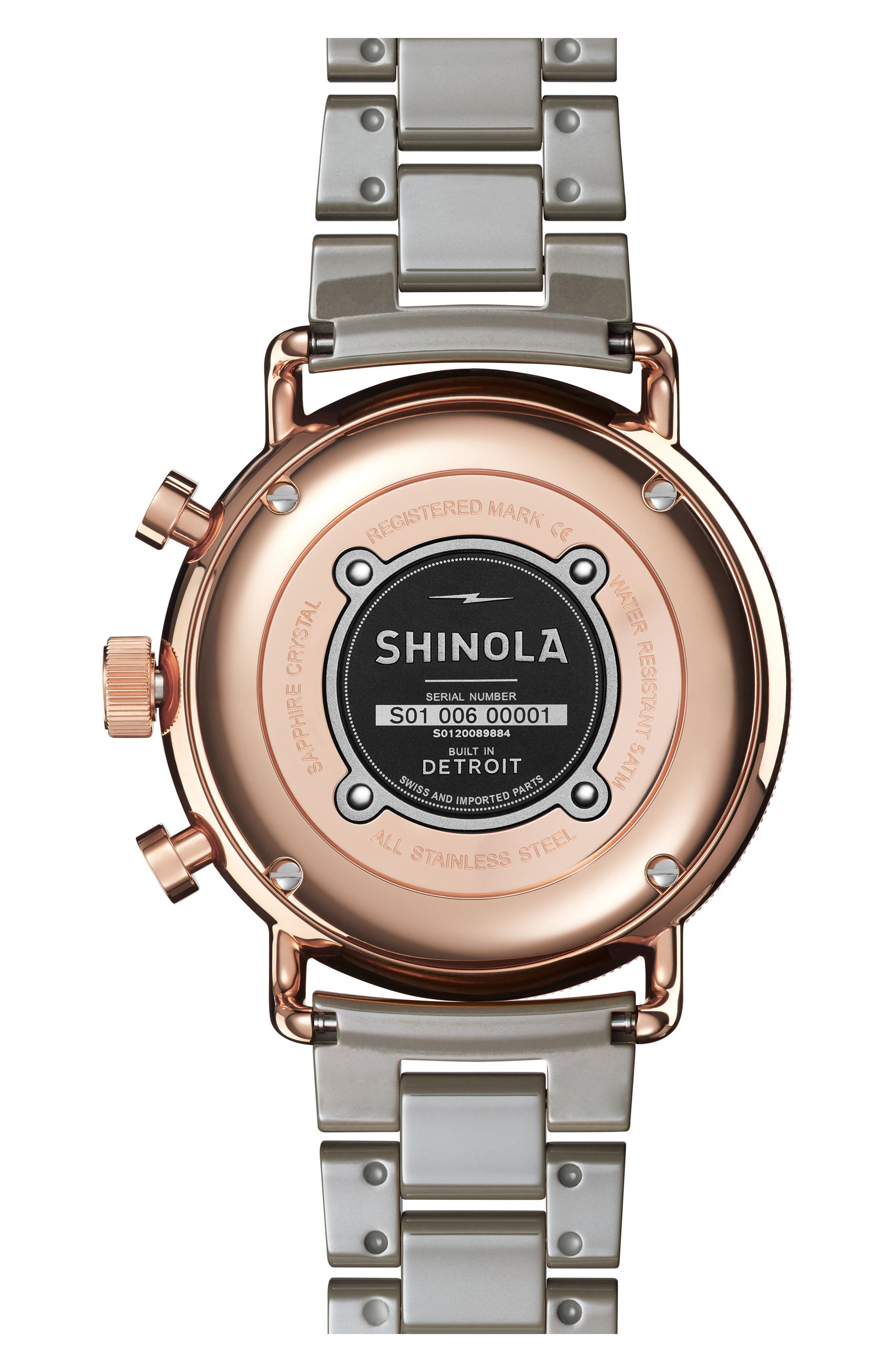 The Canfield Chrono Bracelet Watch, 40mm,                             Alternate thumbnail 2, color,                             Grey/ White/ Rose Gold