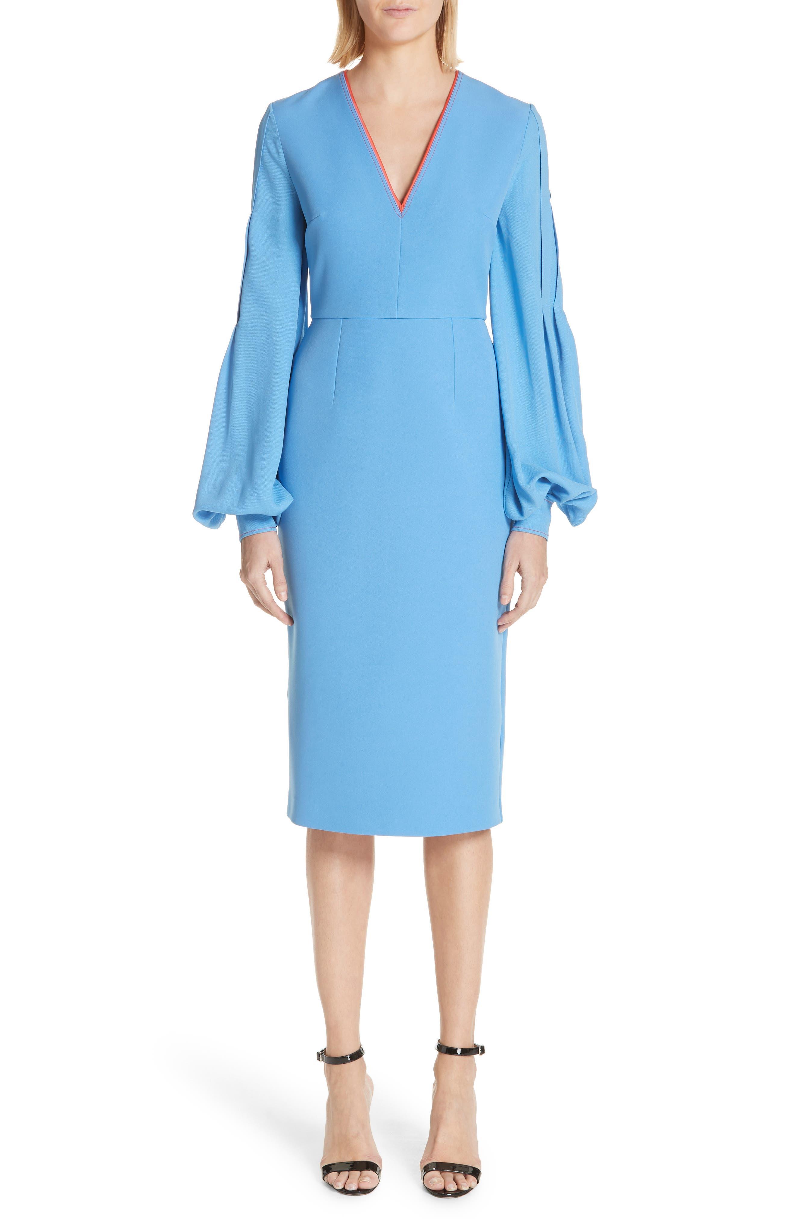 Essi Balloon Sleeve Crepe Satin Dress,                         Main,                         color, Agapanthus