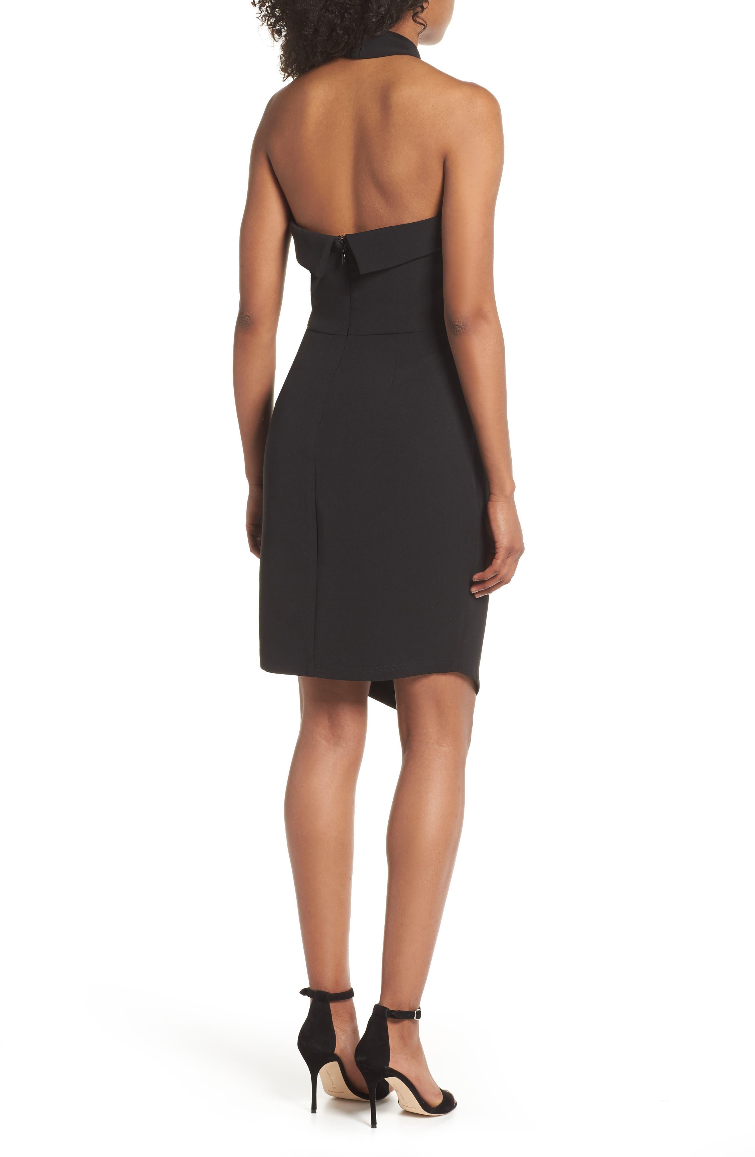 Halter Asymmetrical Sheath Dress,                             Alternate thumbnail 2, color,                             Black