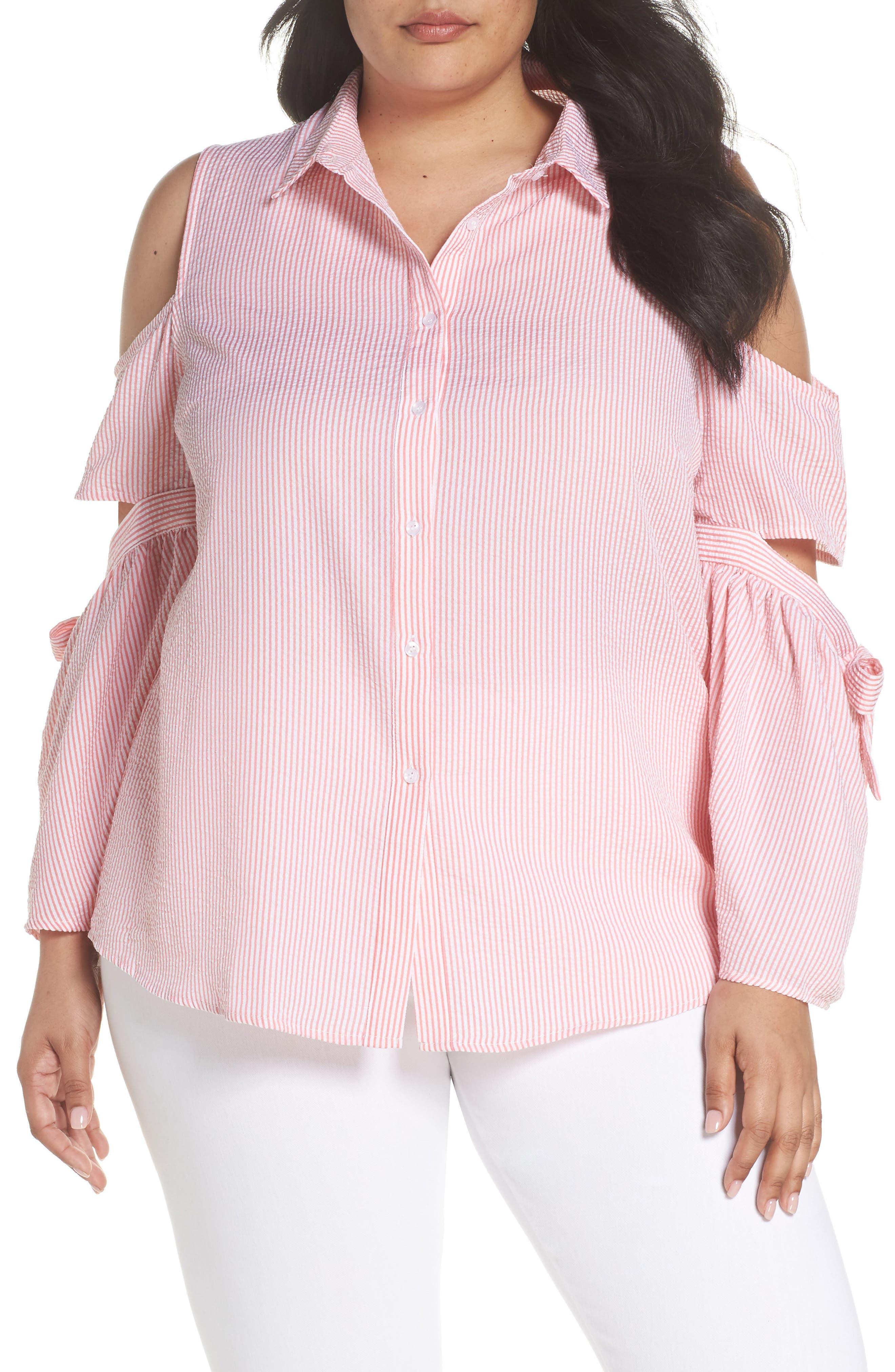 LOST INK Stripe Cutout Cold Shoulder Shirt (Plus Size)