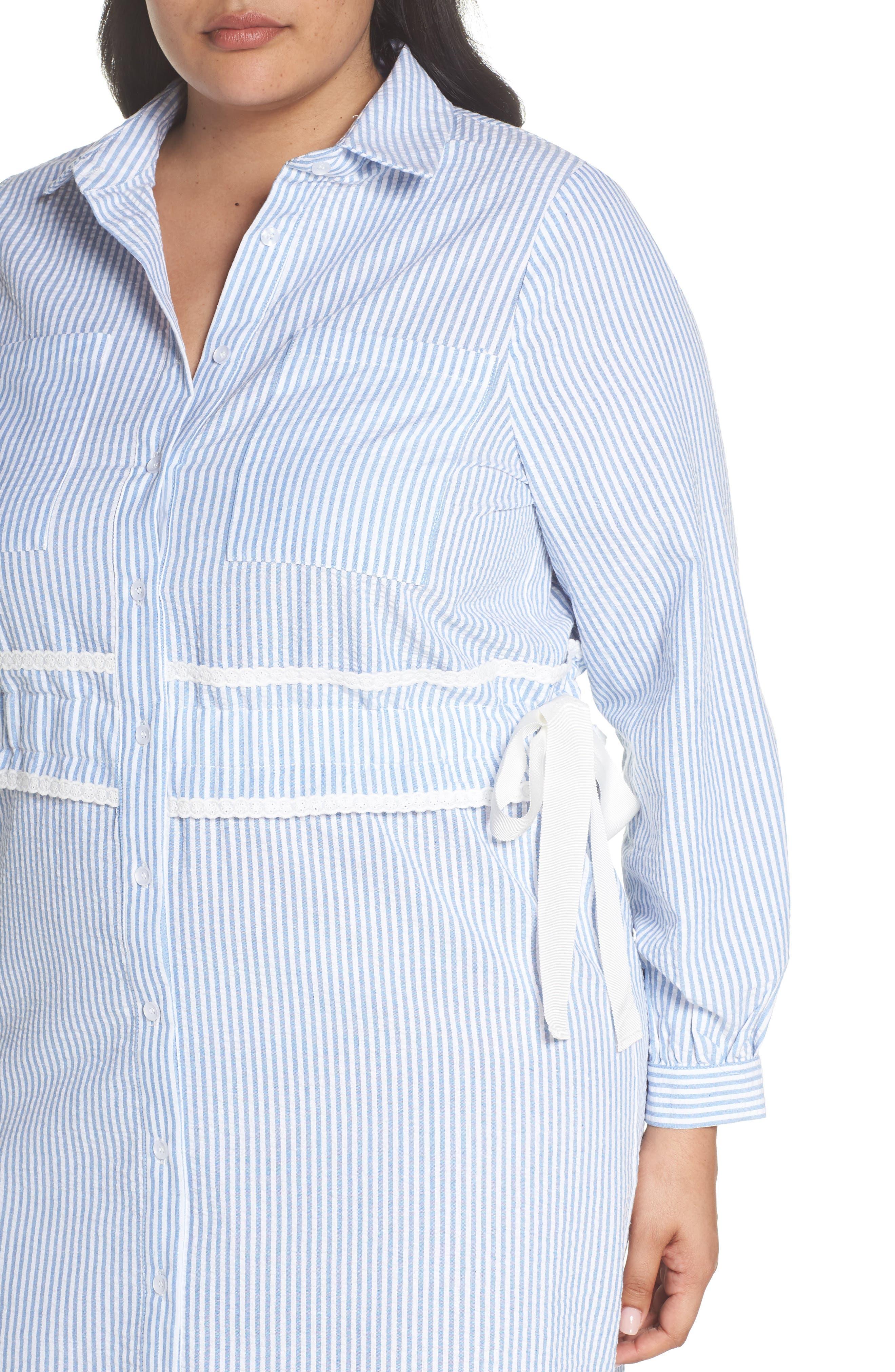Side Tie Stripe Shirtdress,                             Alternate thumbnail 4, color,                             Stripe Print