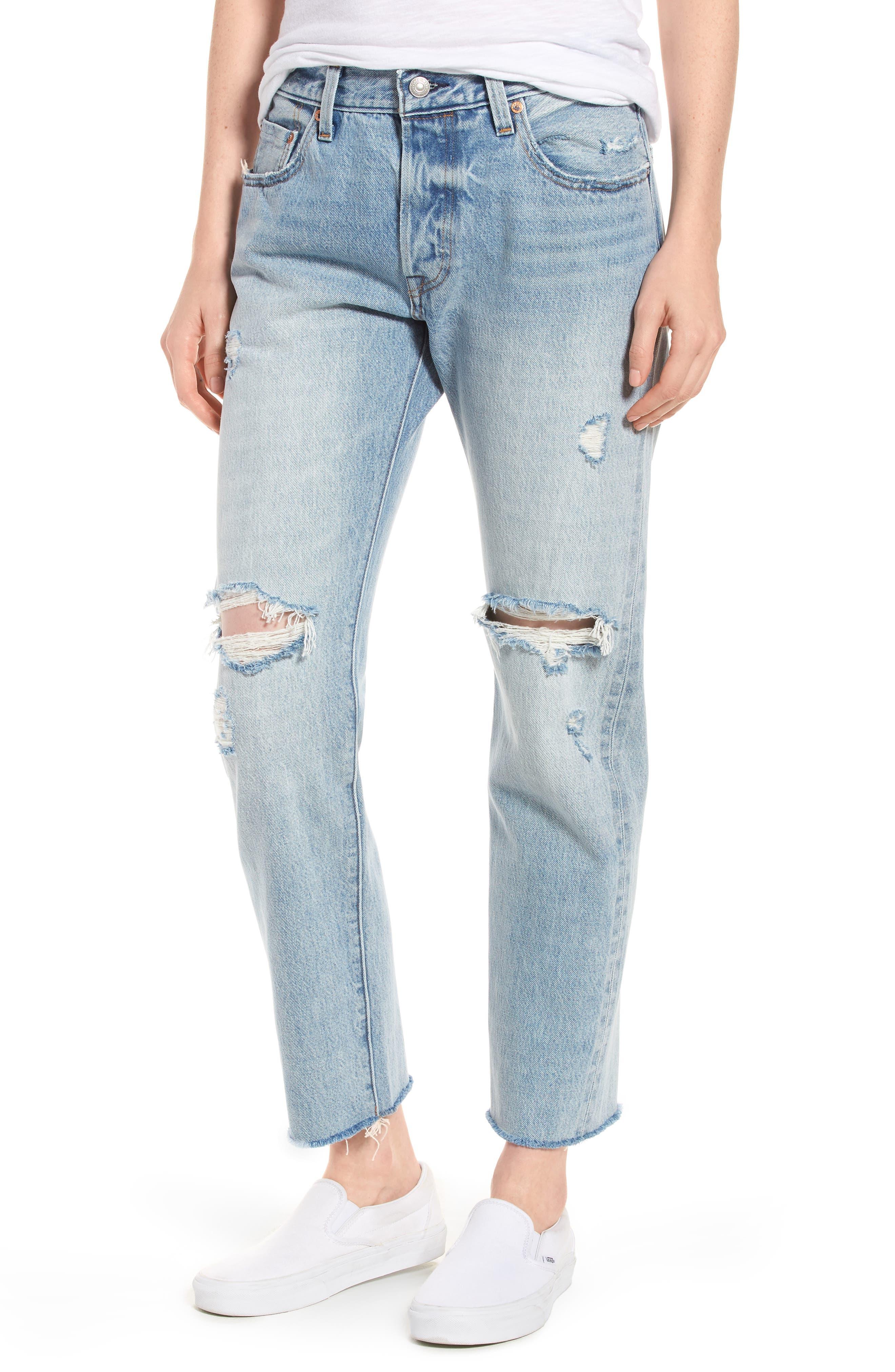 Levi's® 501® Ripped High Waist Crop Jeans (Crazy Cool)