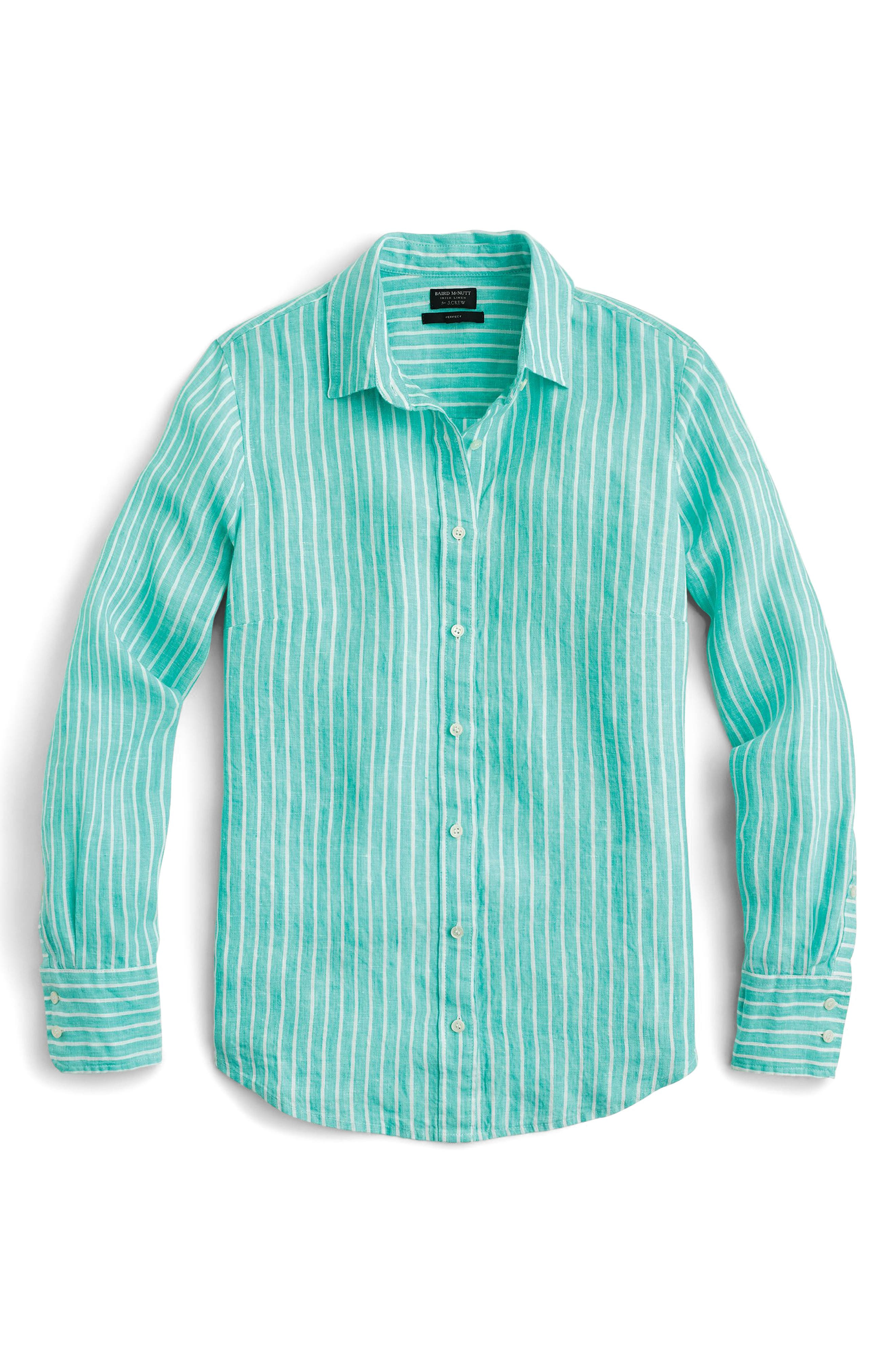 Slim Perfect Stripe Irish Linen Shirt,                             Main thumbnail 1, color,                             Classic Emerald