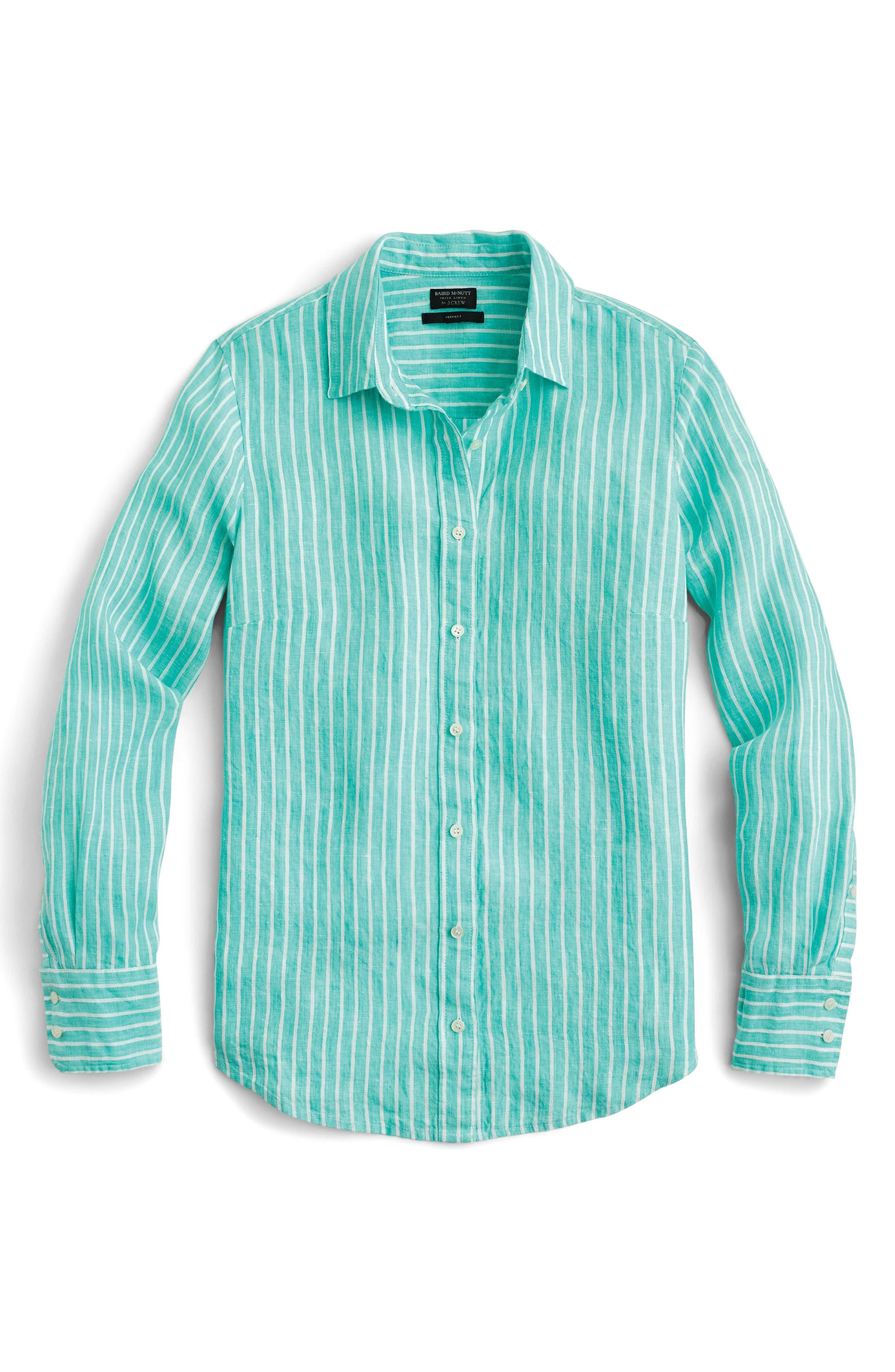 Slim Perfect Stripe Irish Linen Shirt,                         Main,                         color, Classic Emerald
