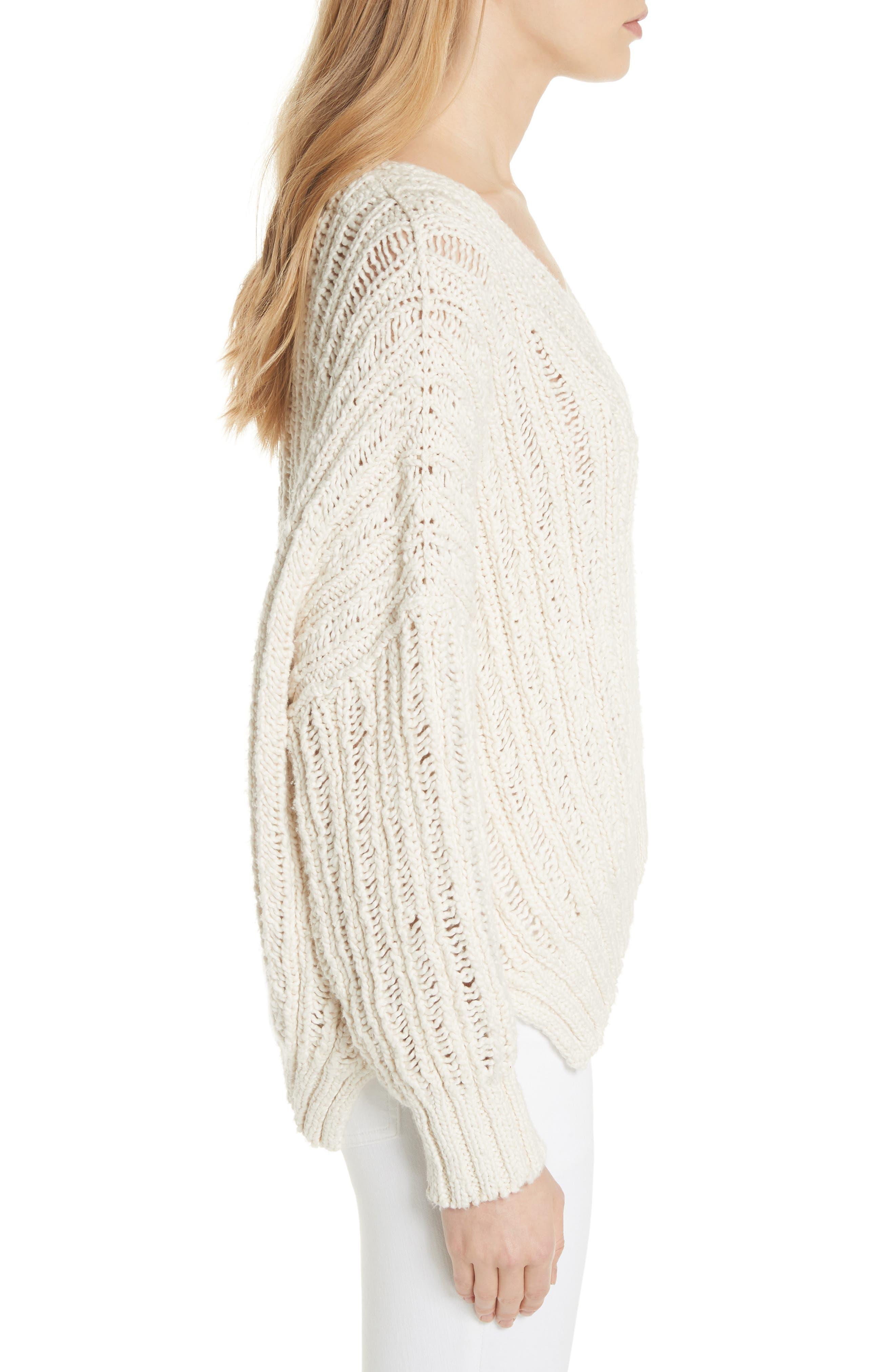 Infinite V-Neck Sweater,                             Alternate thumbnail 3, color,                             Ivory