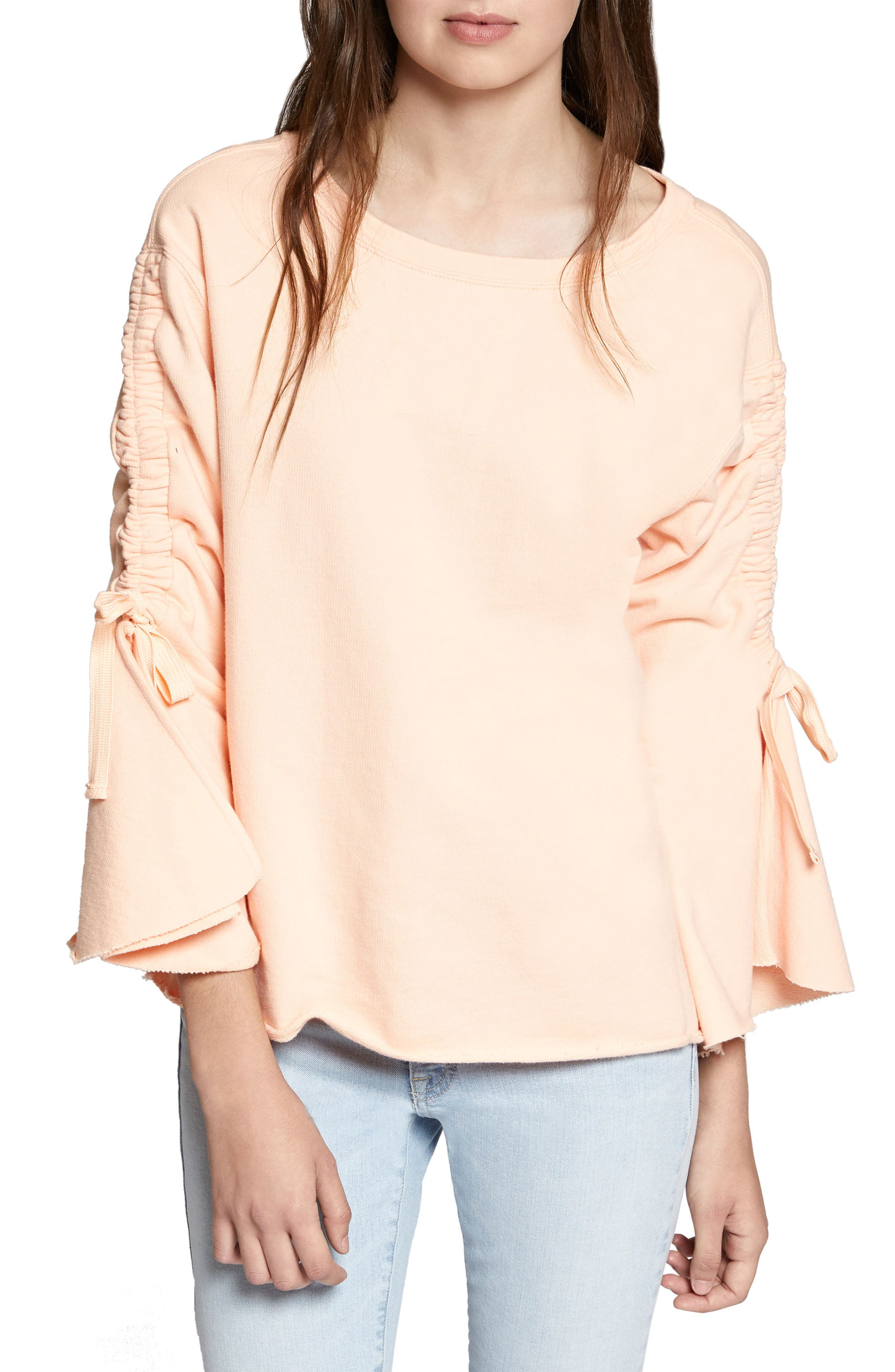Upper West Bell Sleeve Sweatshirt,                         Main,                         color, Washed Papaya