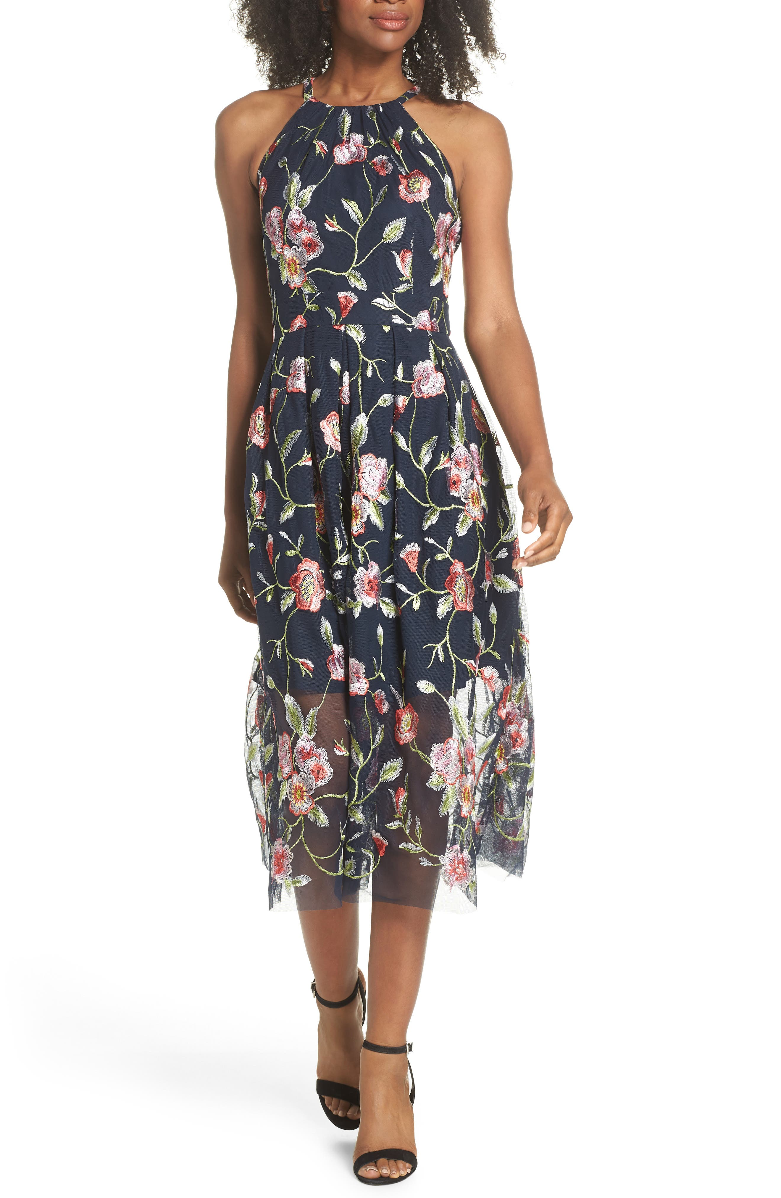 Embroidered Midi Dress,                         Main,                         color, Navy Multi