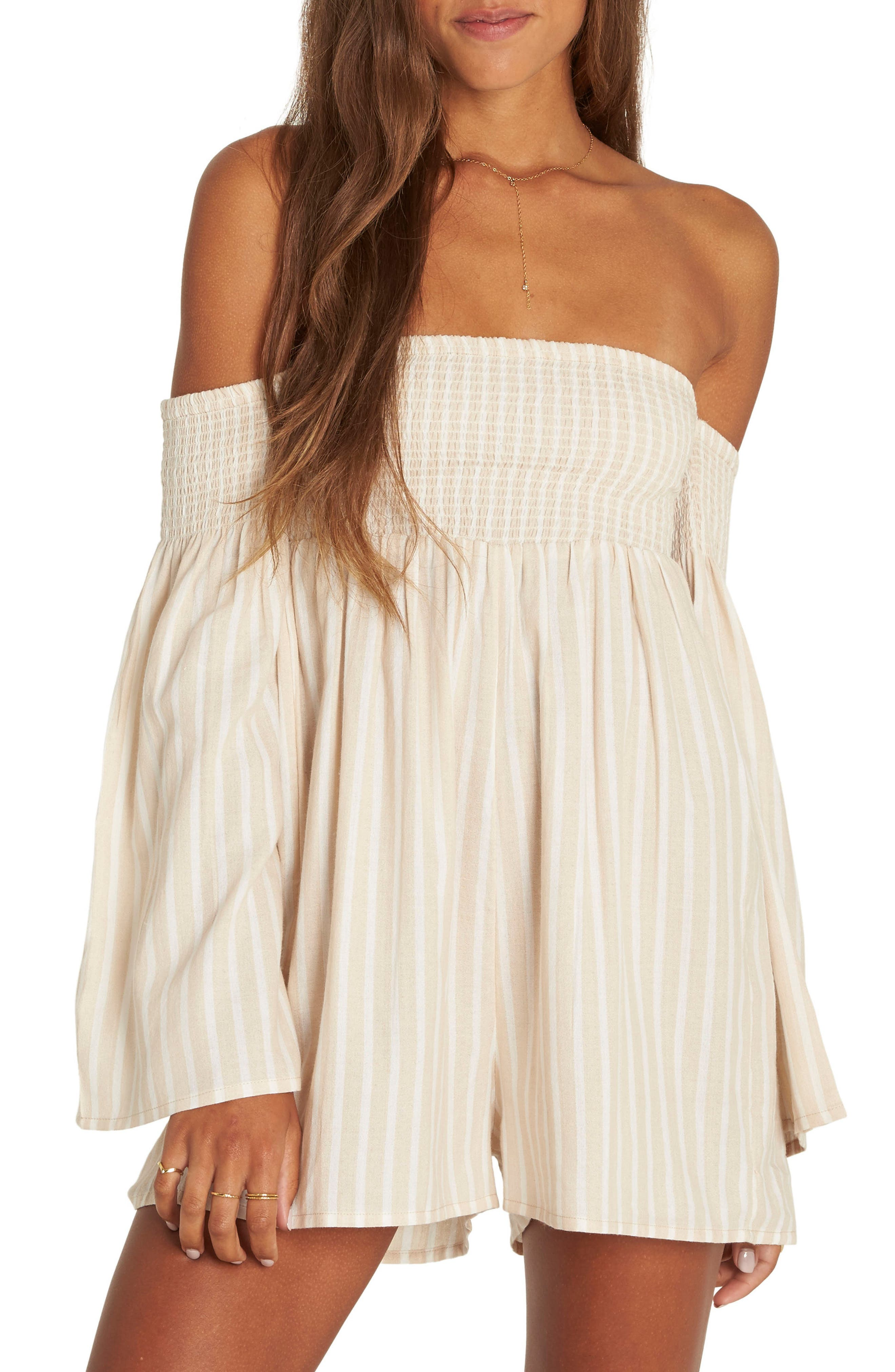 Fox on the Run Off the Shoulder Romper,                         Main,                         color, Light Stone