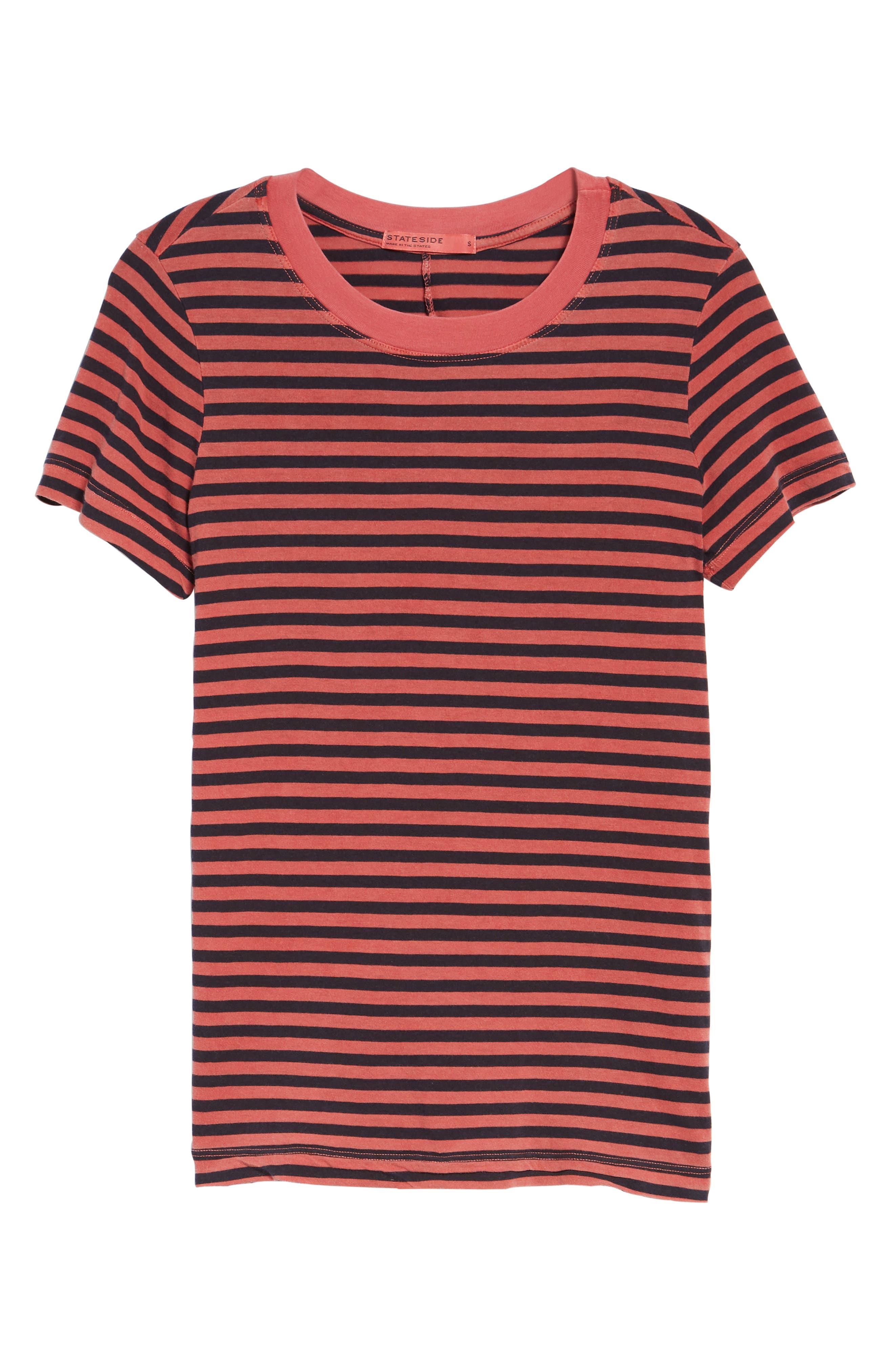 Stripe Cotton Boy Tee,                             Alternate thumbnail 6, color,                             Chili