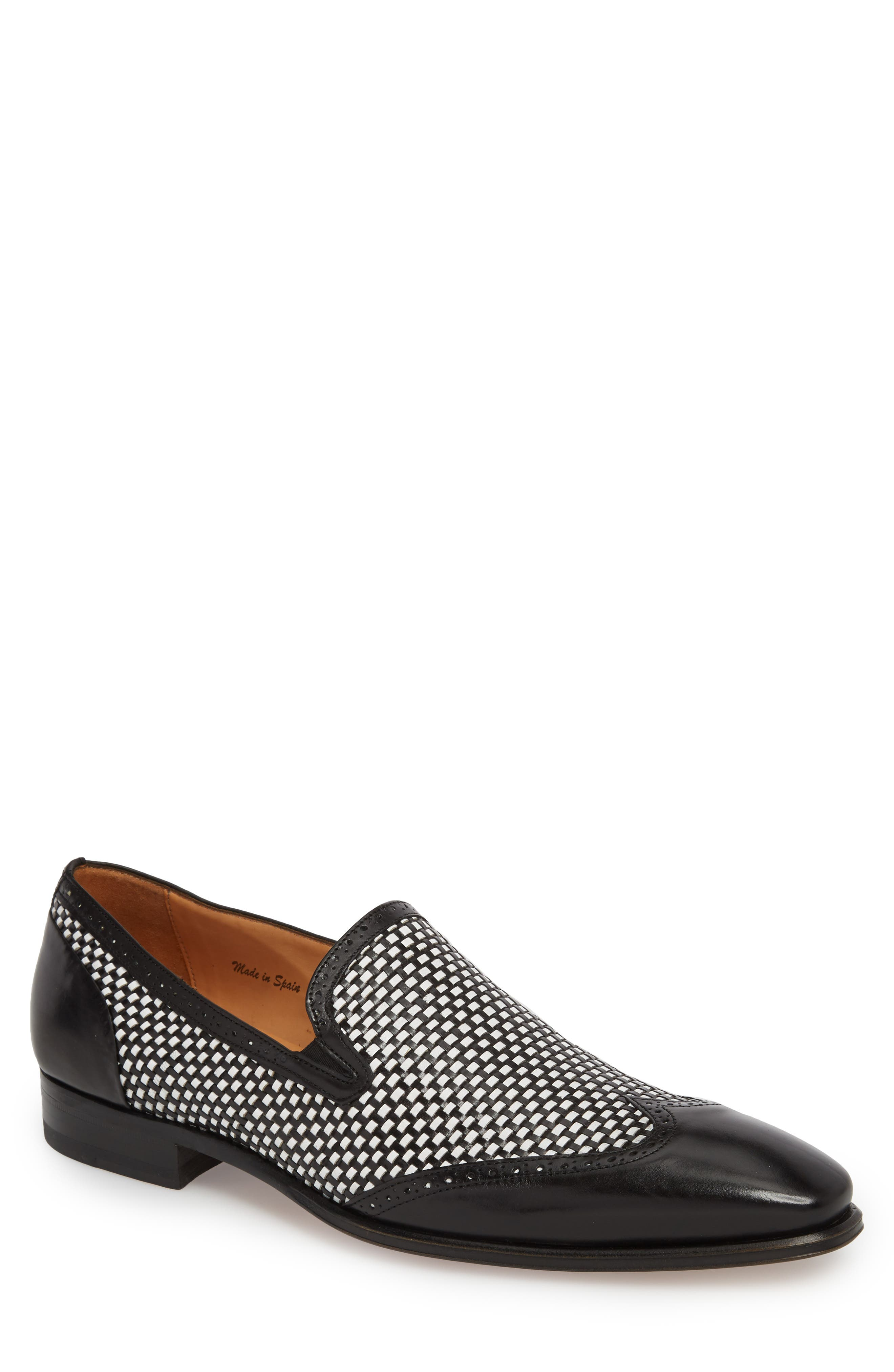 Nepos Woven Wingtip Loafer,                         Main,                         color, Black/ White Leather