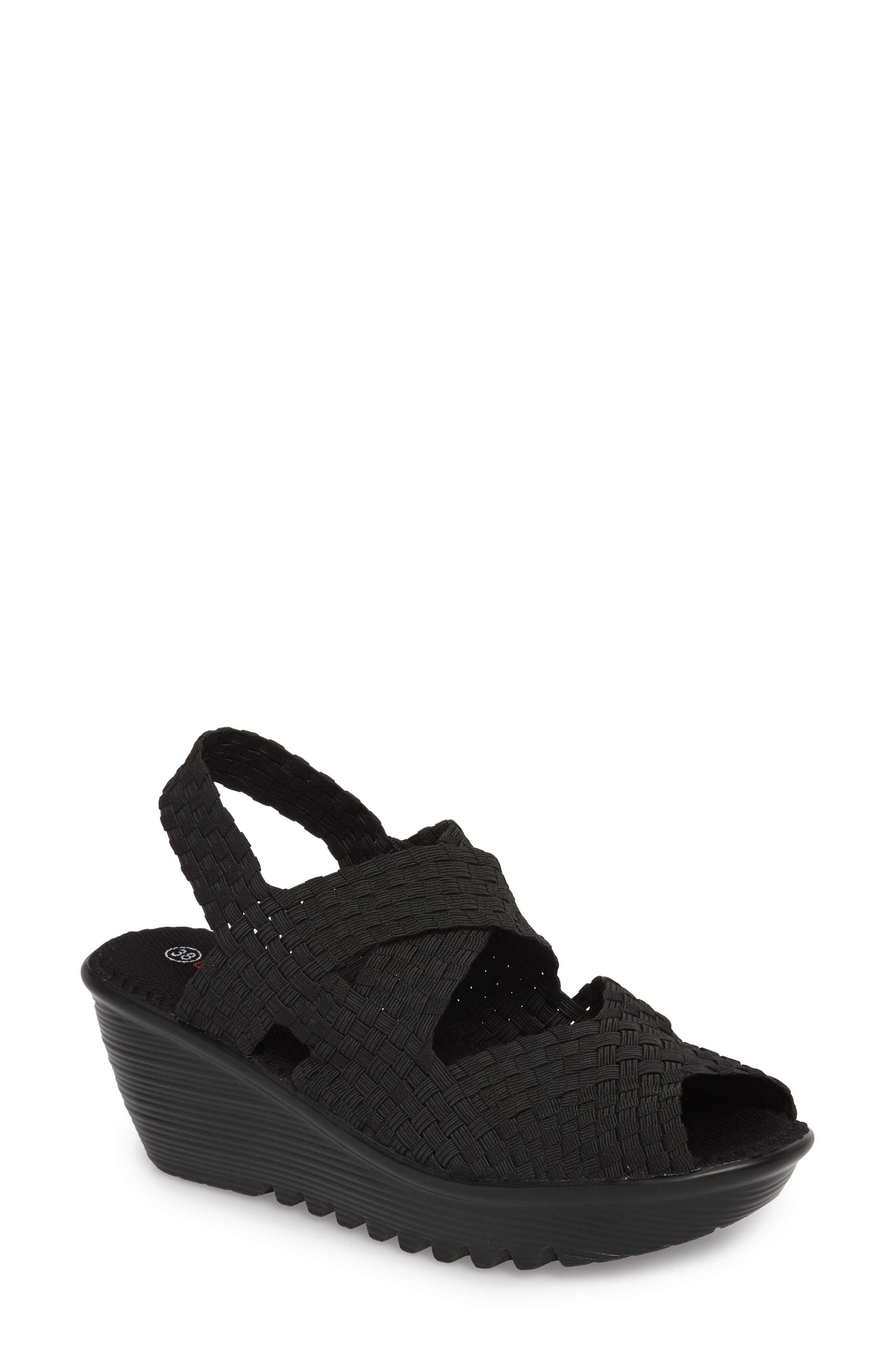 Jessica Wedge Sandal,                         Main,                         color, Black Fabric