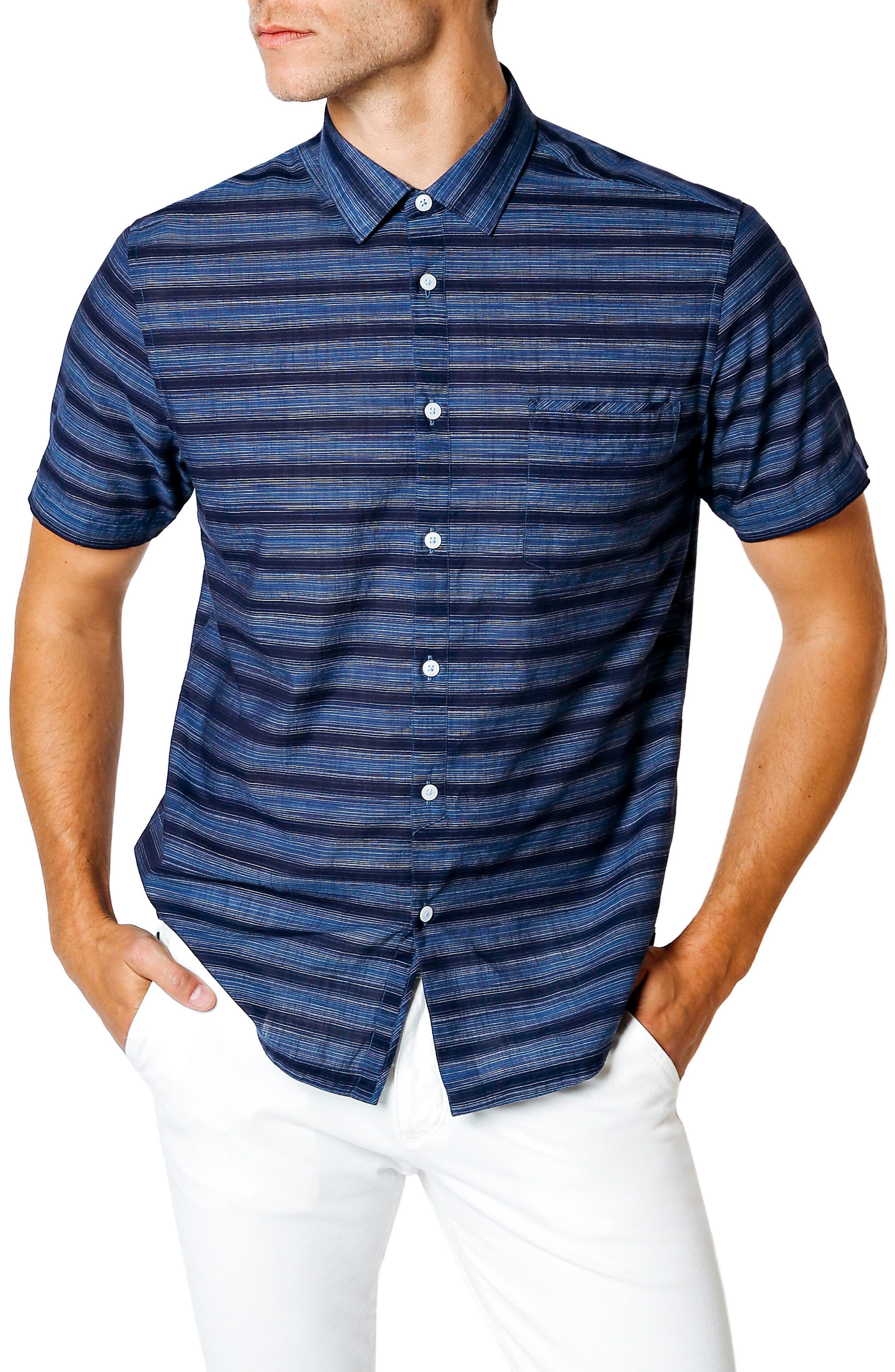 Slim Fit Short Sleeve Sport Shirt,                         Main,                         color, Navy