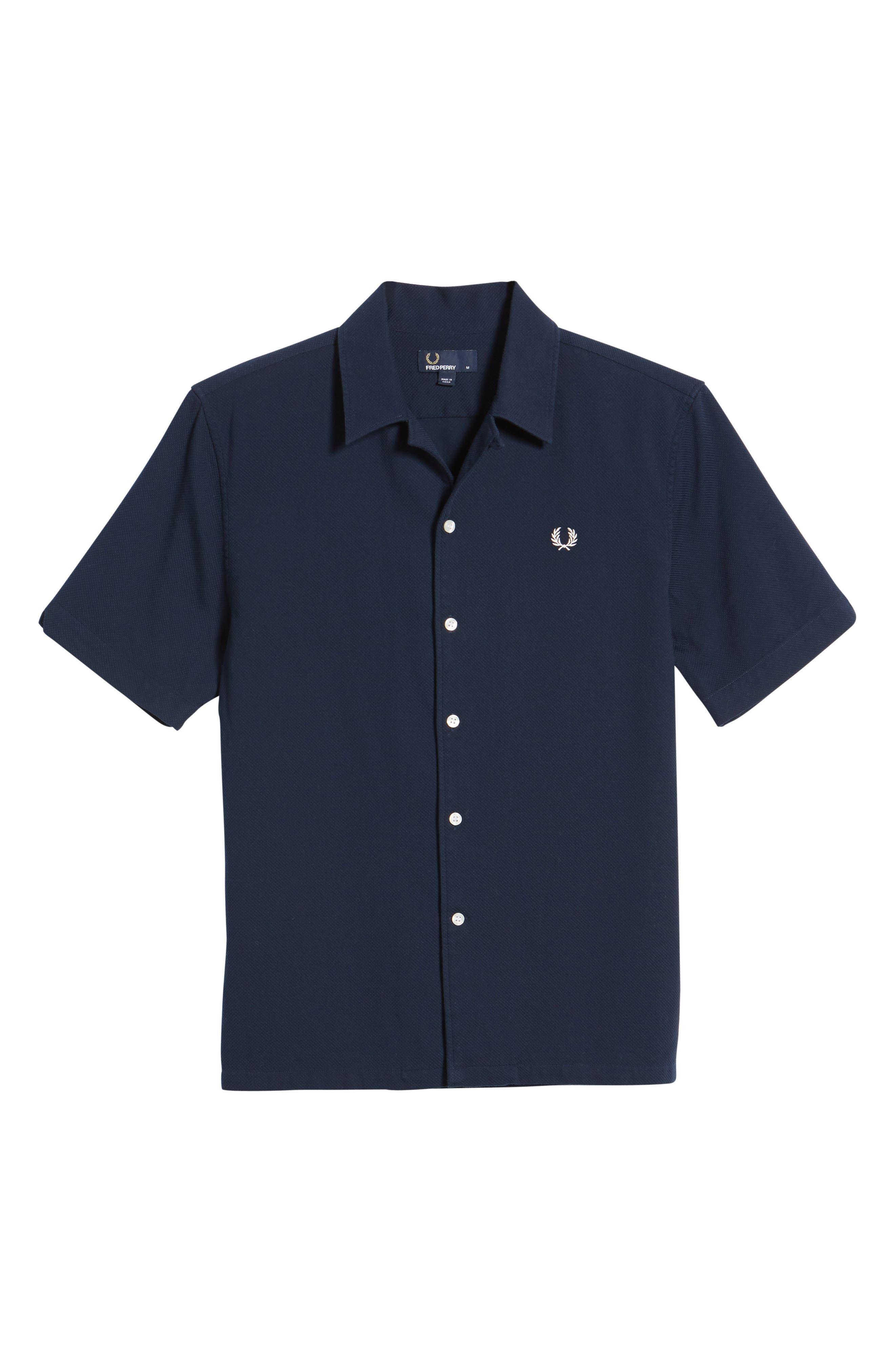Woven Piqué Shirt,                             Alternate thumbnail 6, color,                             Carbon Blue