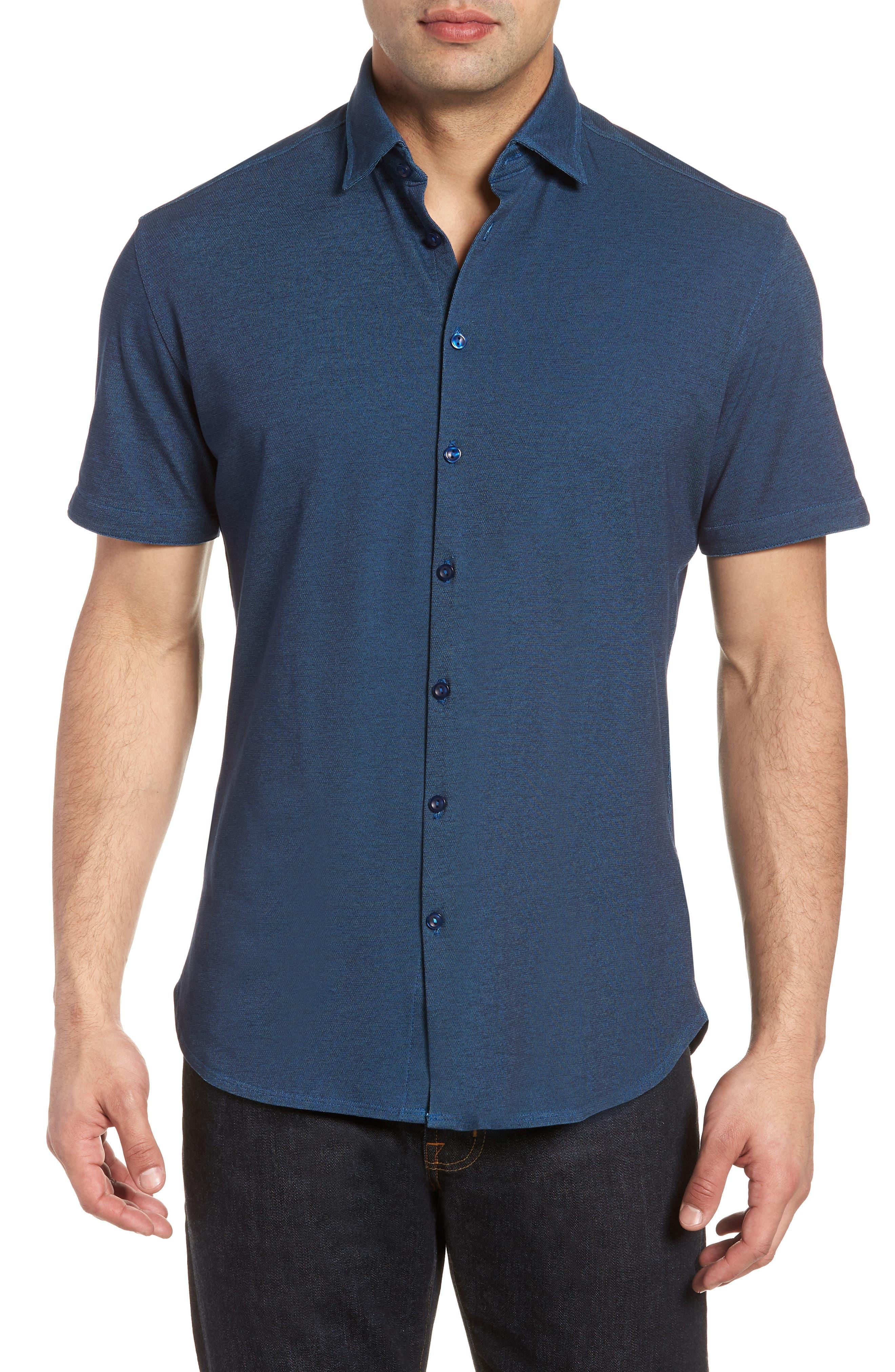 Contemporary Fit Tech Knit Sport Shirt,                         Main,                         color, Navy