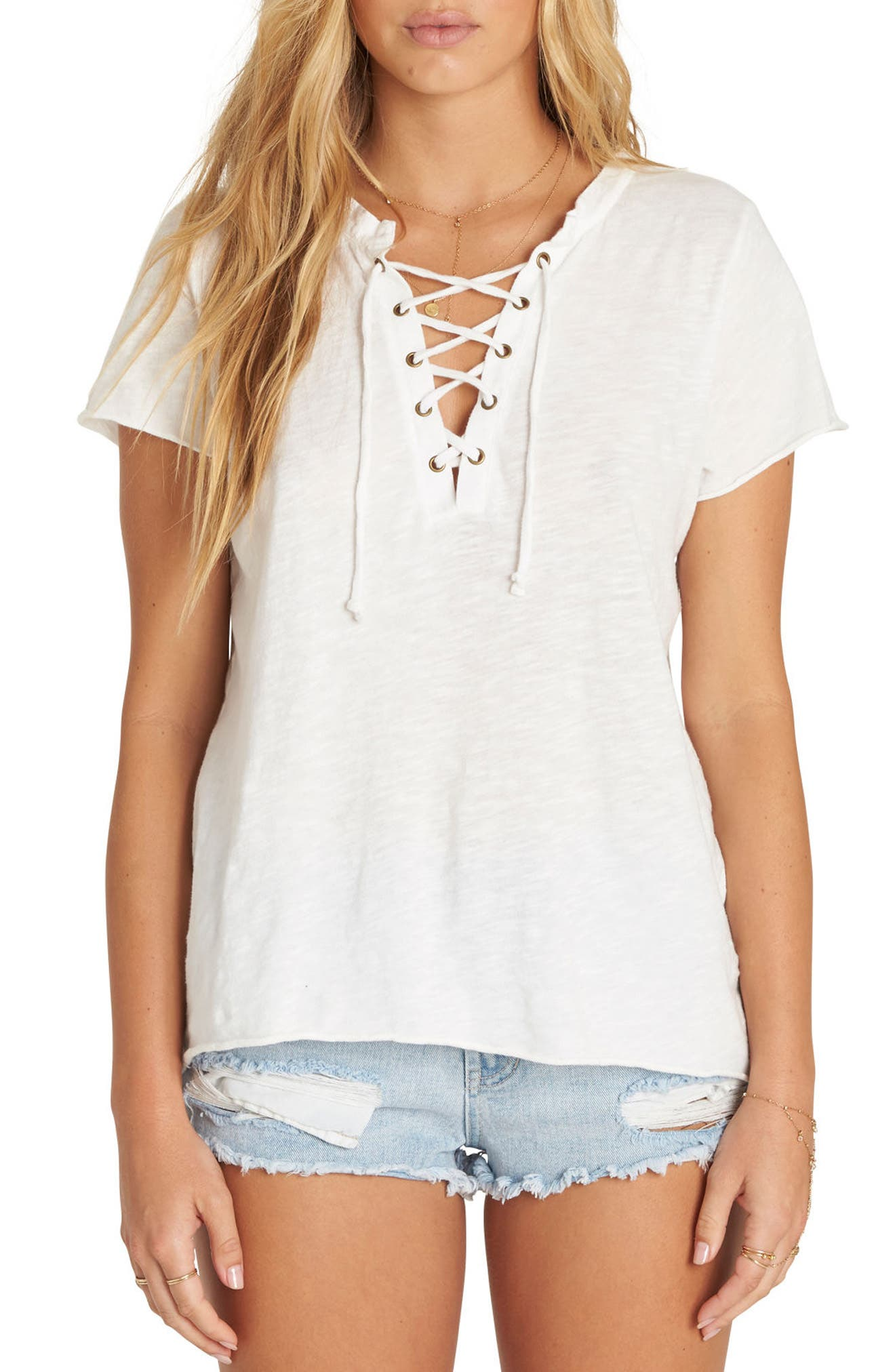 Let Loose Lace-Up Top,                         Main,                         color, Cool Wip