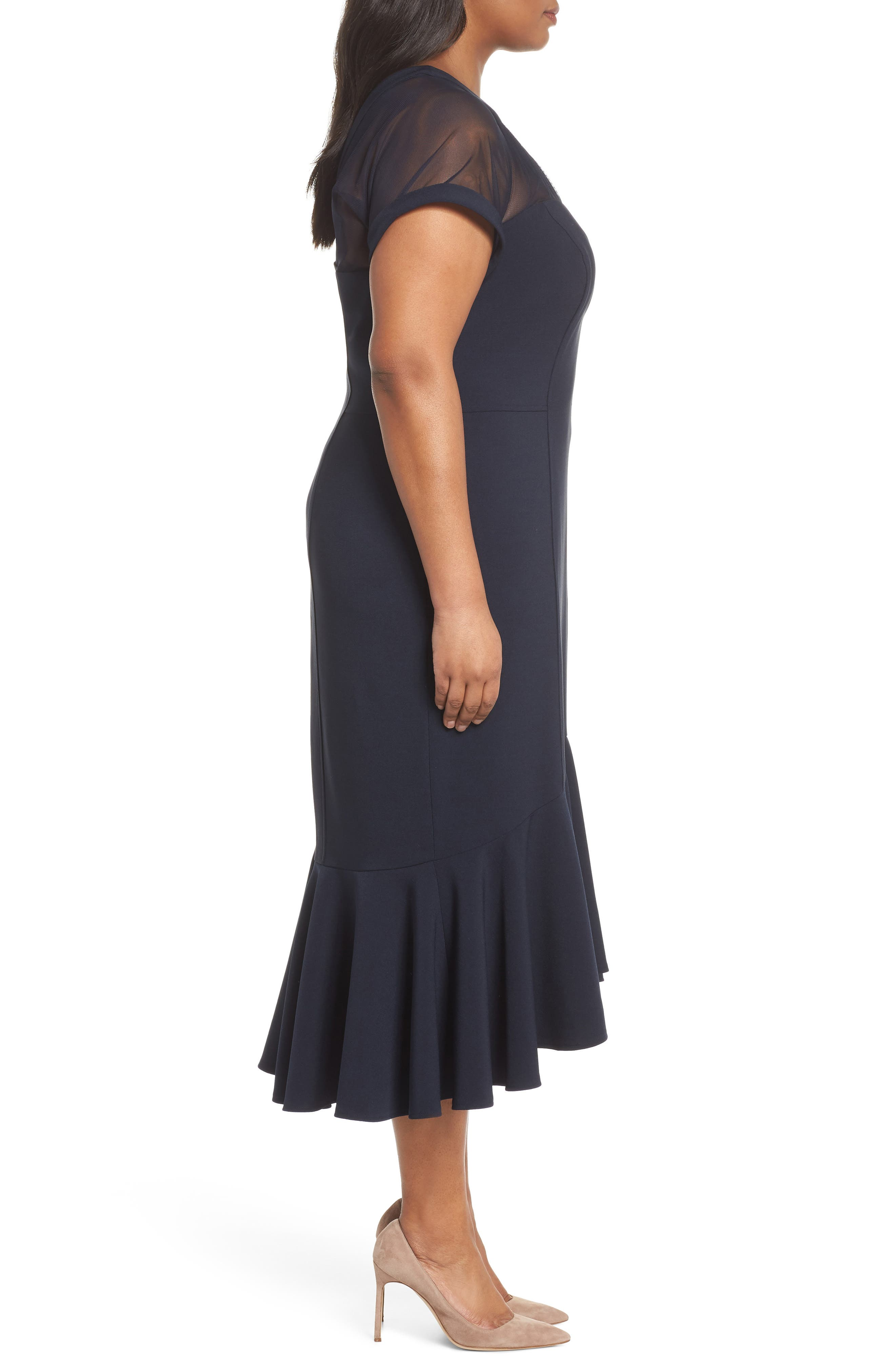 Illusion Flare Hem Midi Dress,                             Alternate thumbnail 3, color,                             Dark Navy
