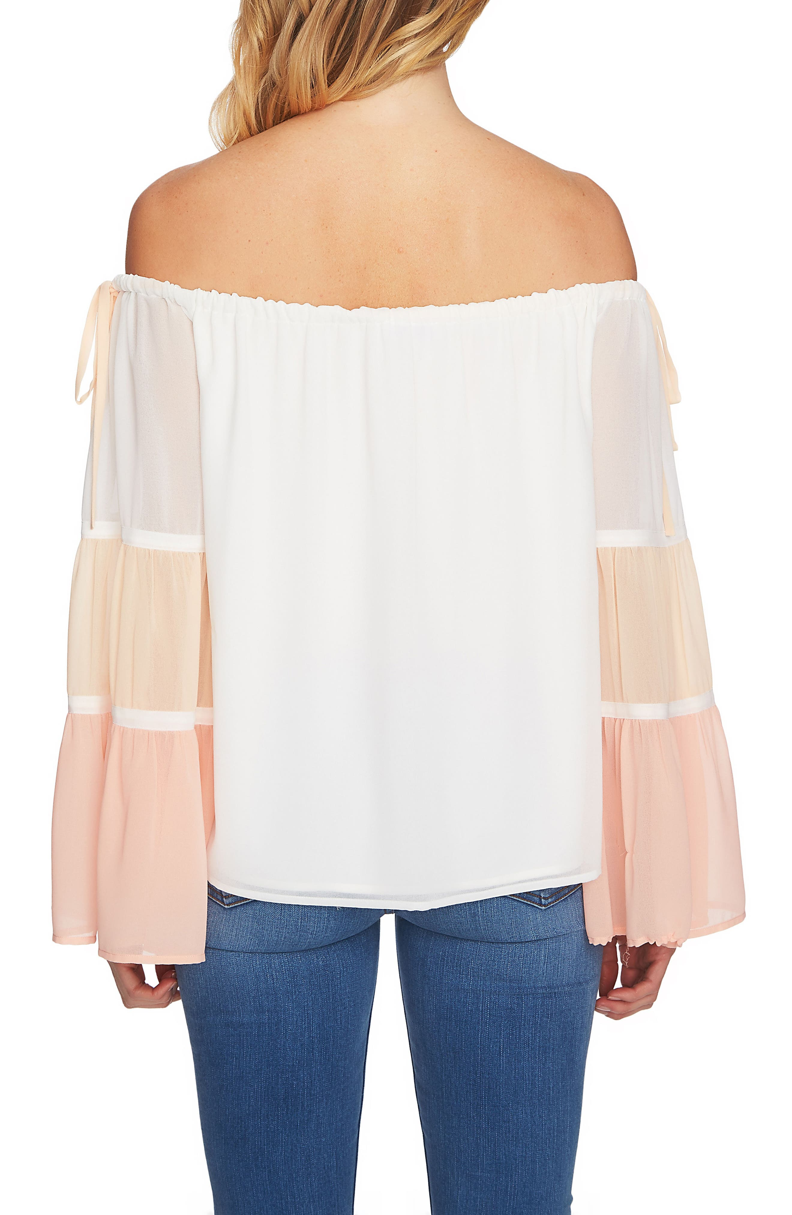 Tiered Off the Shoulder Top,                             Alternate thumbnail 2, color,                             Antique White