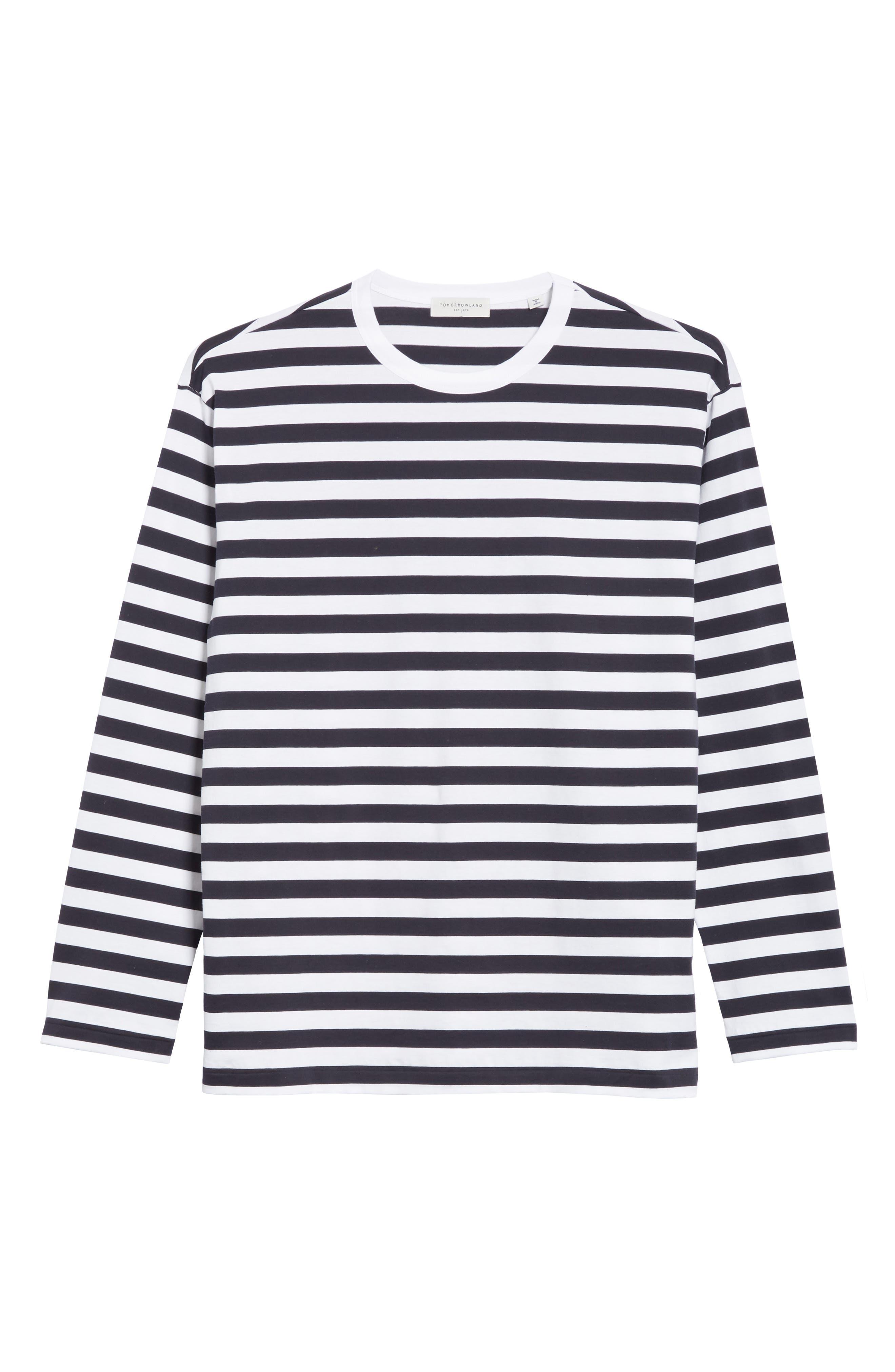 Stripe Long Sleeve T-Shirt,                             Alternate thumbnail 6, color,                             White/Navy