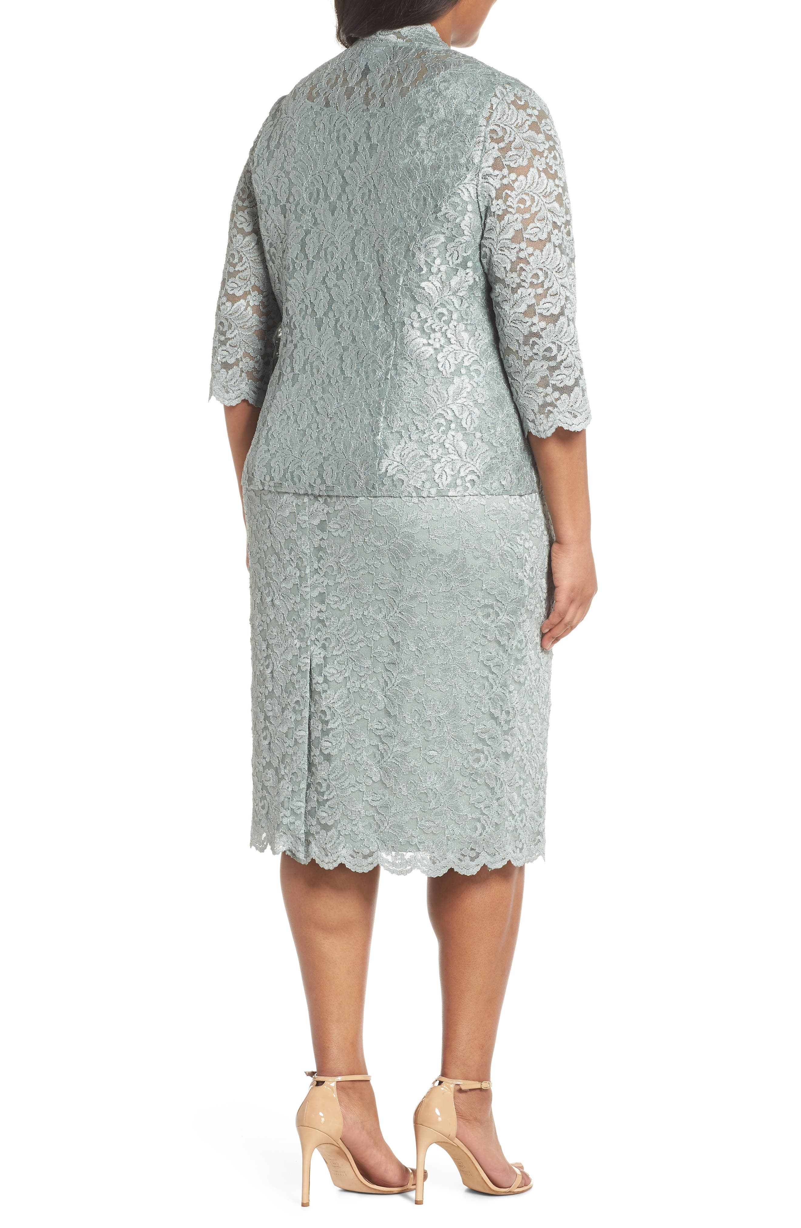 Lace Sheath Dress & Jacket,                             Alternate thumbnail 2, color,                             Ice Sage