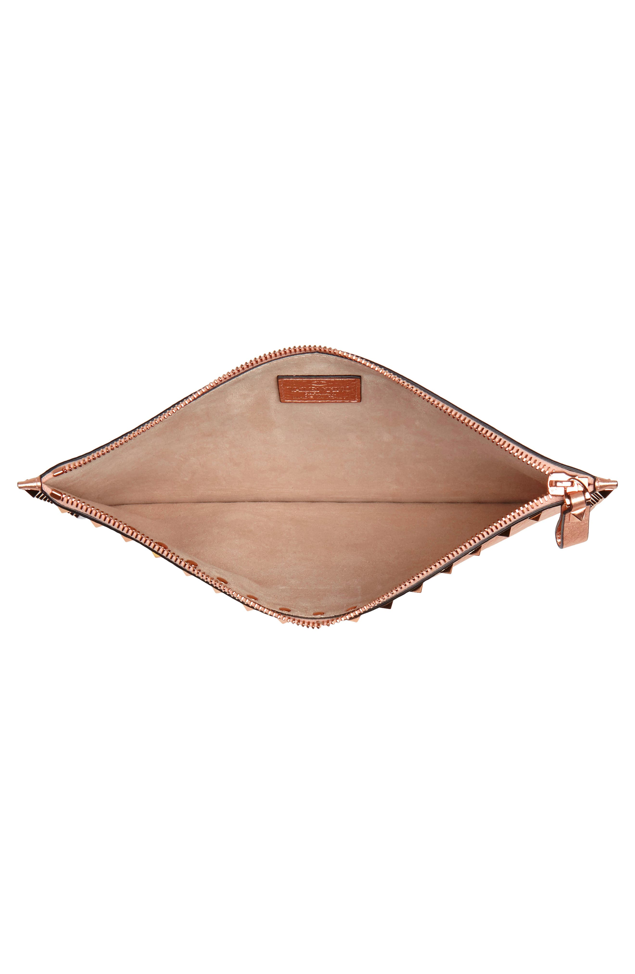 Large Rockstud Flat Leather Zip Pouch,                             Alternate thumbnail 4, color,                             Rosegold