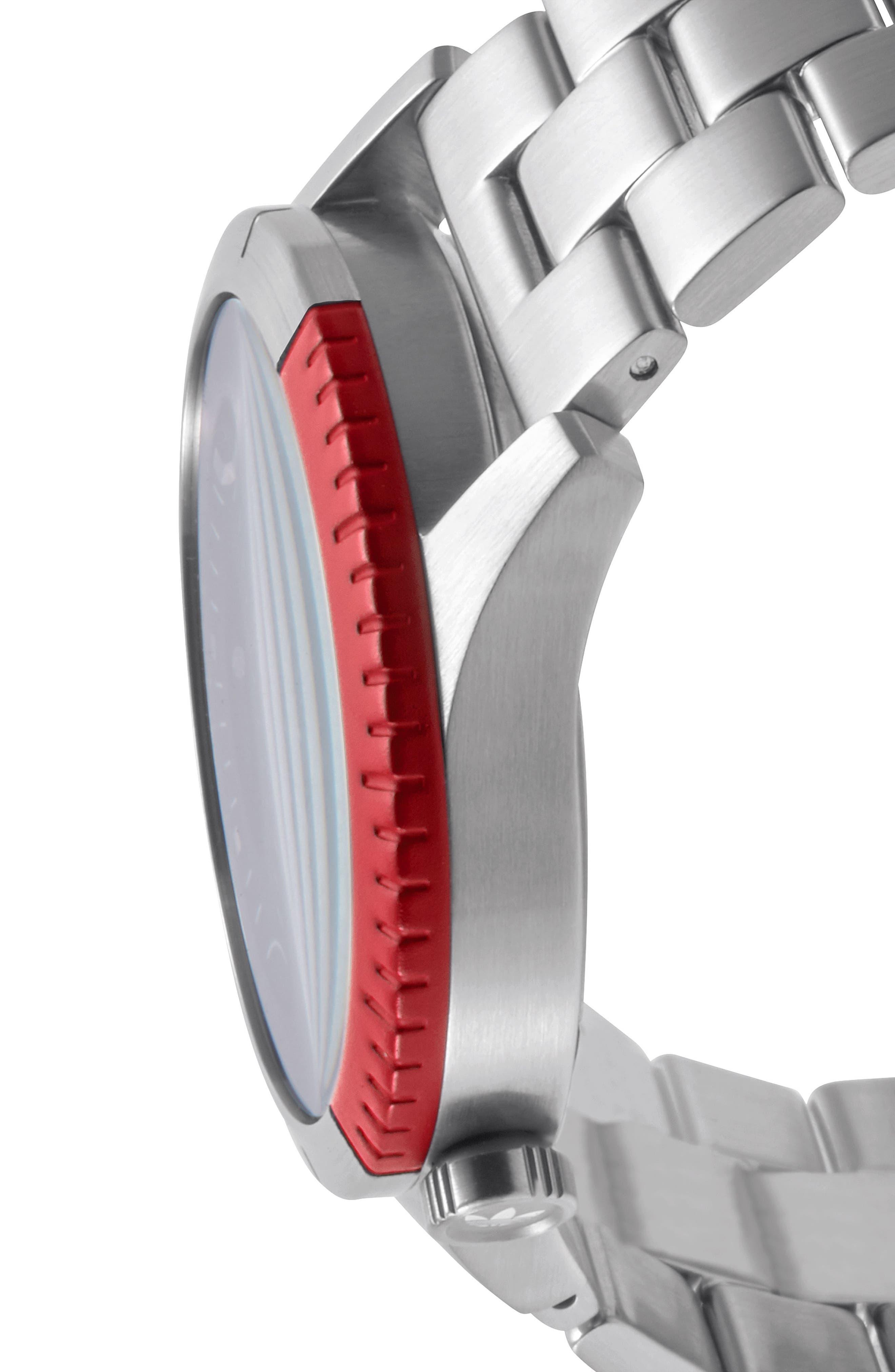 Cypher Bracelet Watch, 42mm,                             Alternate thumbnail 3, color,                             Silver/ Black/ Red