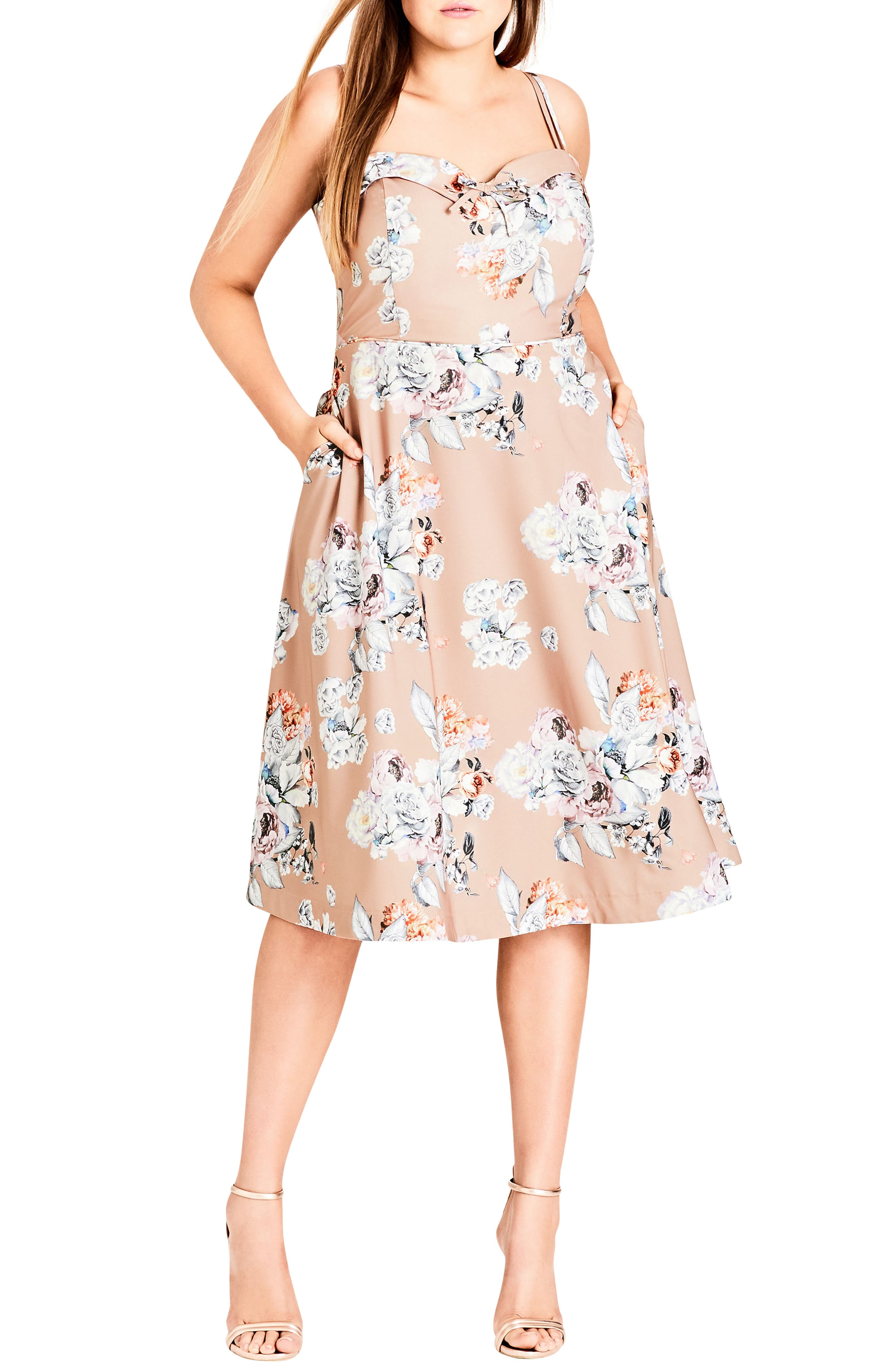 Paper Floral Tea Length Dress,                             Main thumbnail 1, color,                             Paper Floral