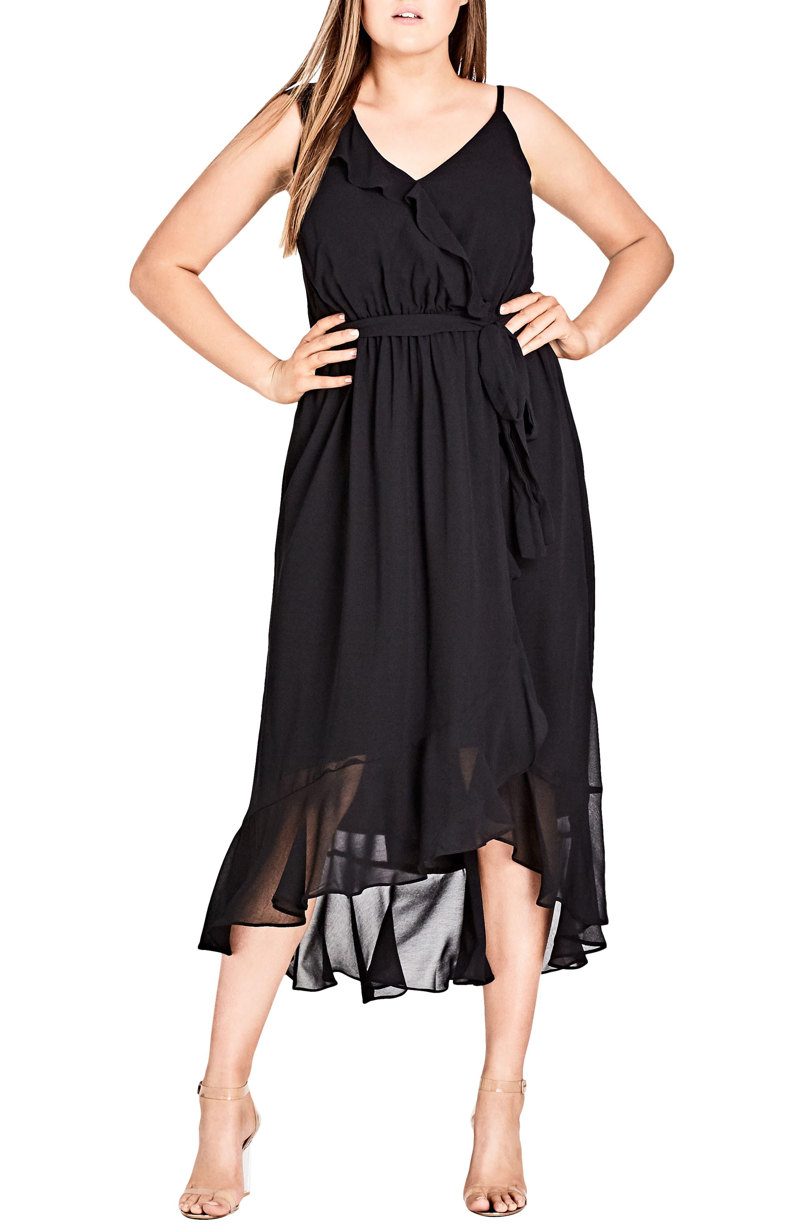 Flirty Detail Midi Wrap Dress,                             Main thumbnail 1, color,                             Black