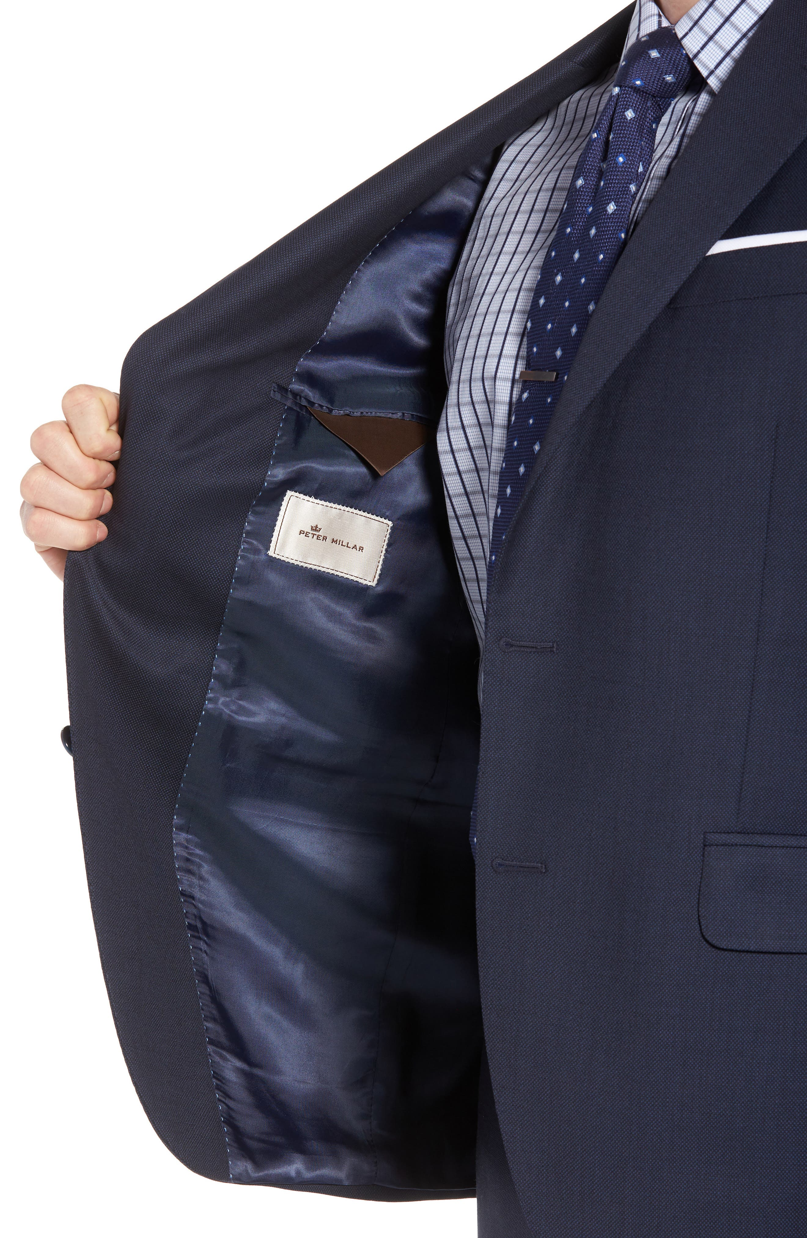 Classic Fit Bird's Eye Wool Suit,                             Alternate thumbnail 4, color,                             Navy