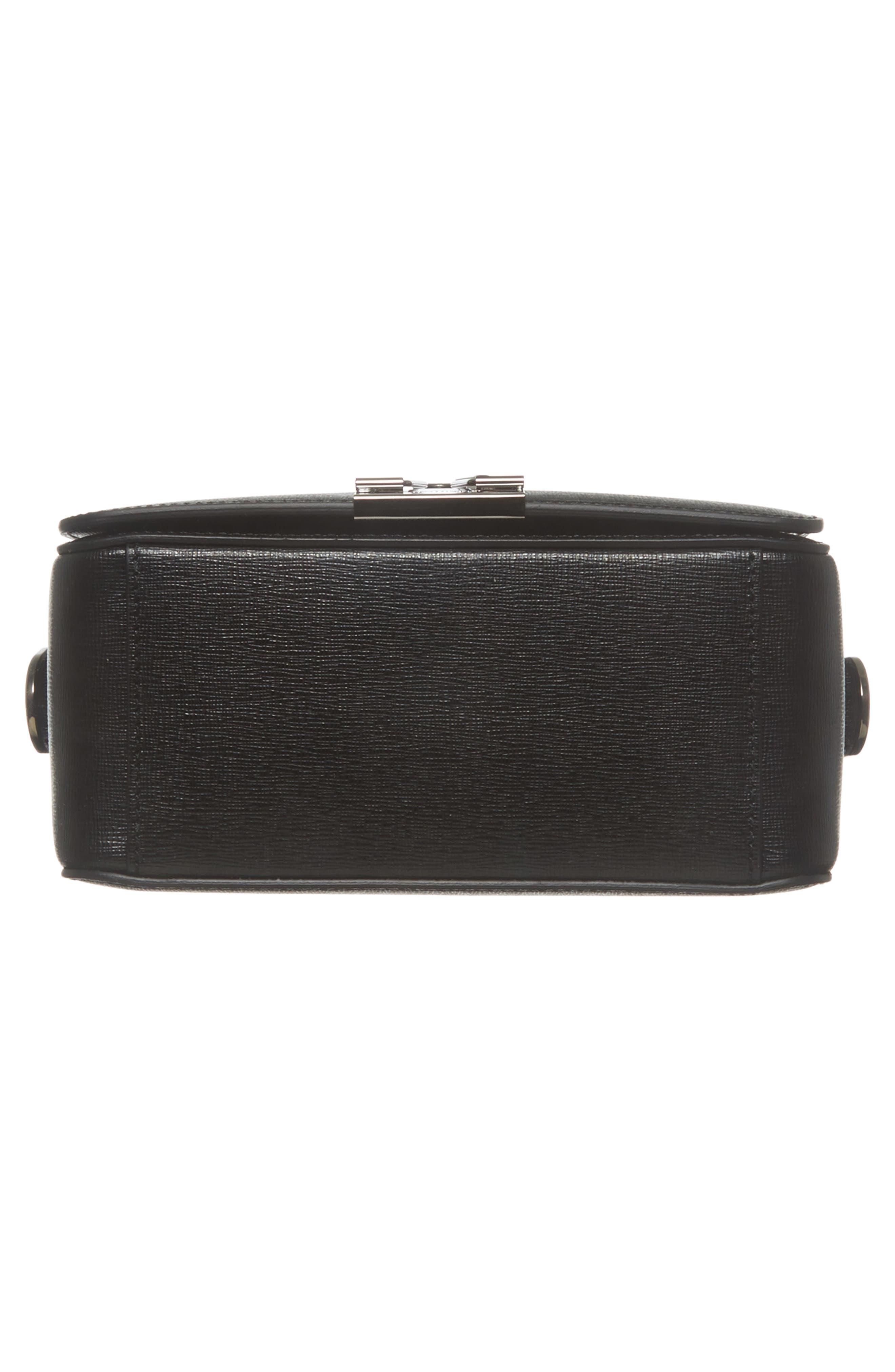 Binder Clip Leather Flap Bag,                             Alternate thumbnail 7, color,                             Black