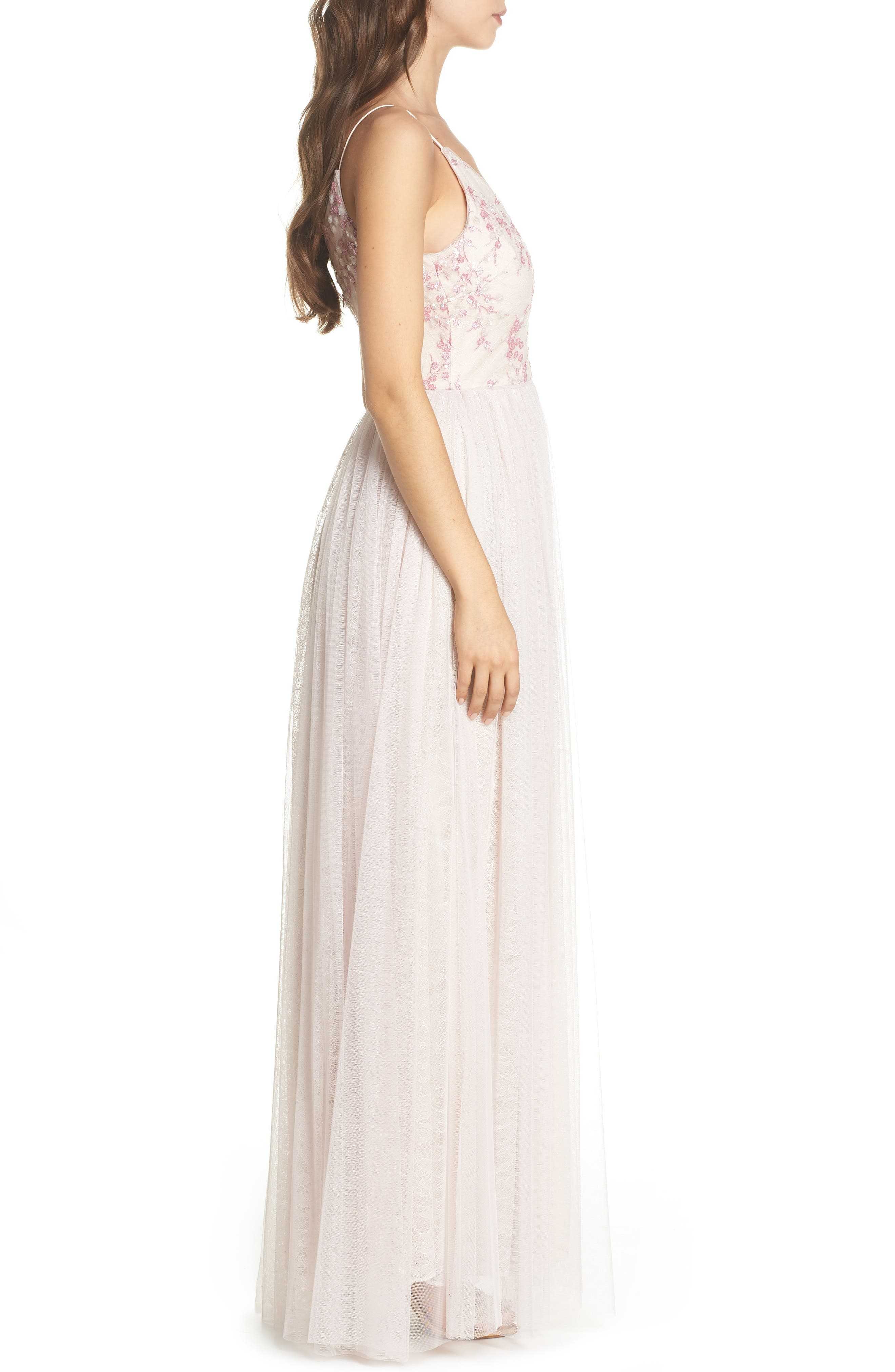 Embellished Bodice Tulle Gown,                             Alternate thumbnail 3, color,                             Pink