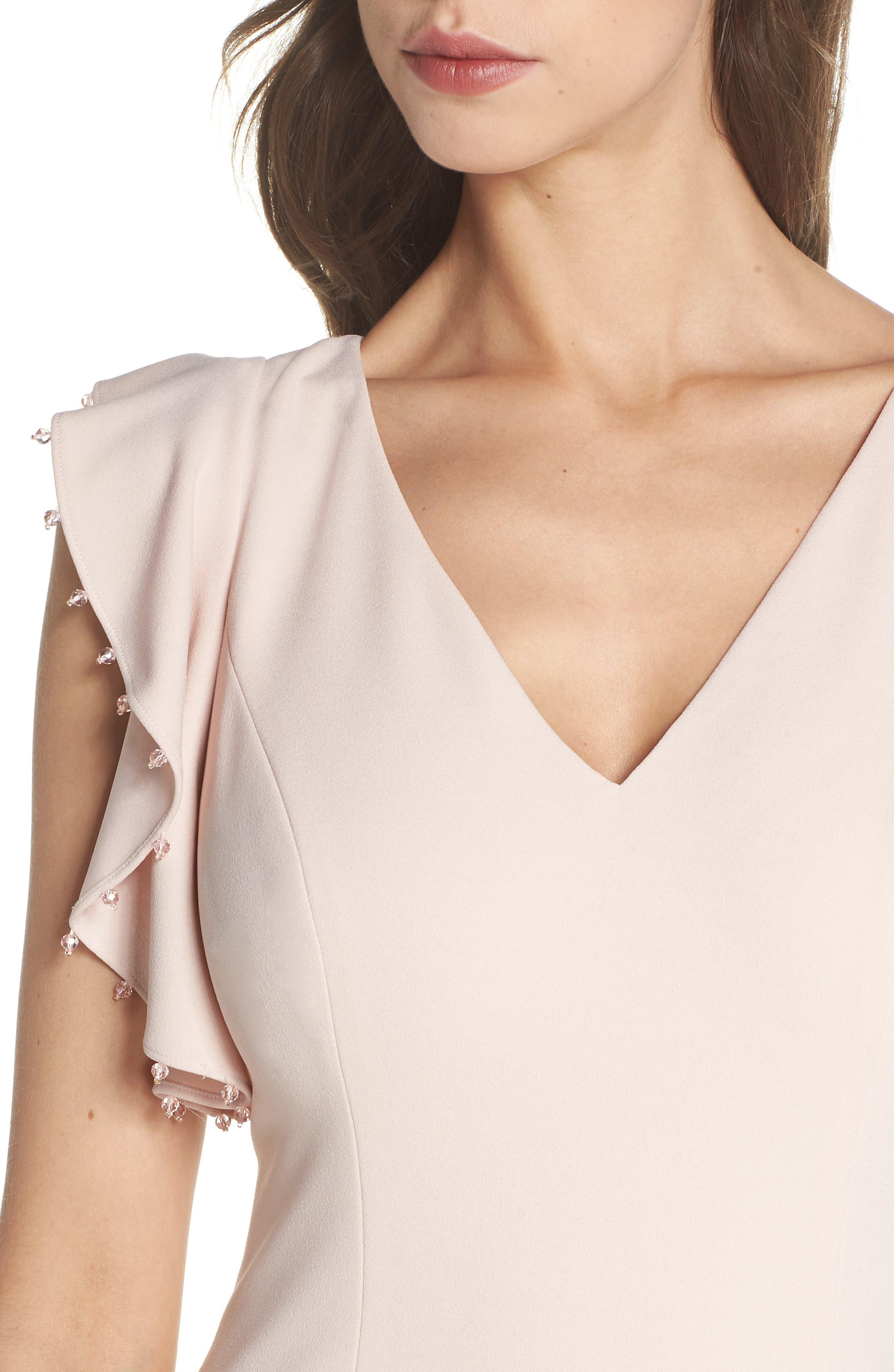 Flutter Sleeve Crepe Trumpet Gown,                             Alternate thumbnail 4, color,                             Light Blush