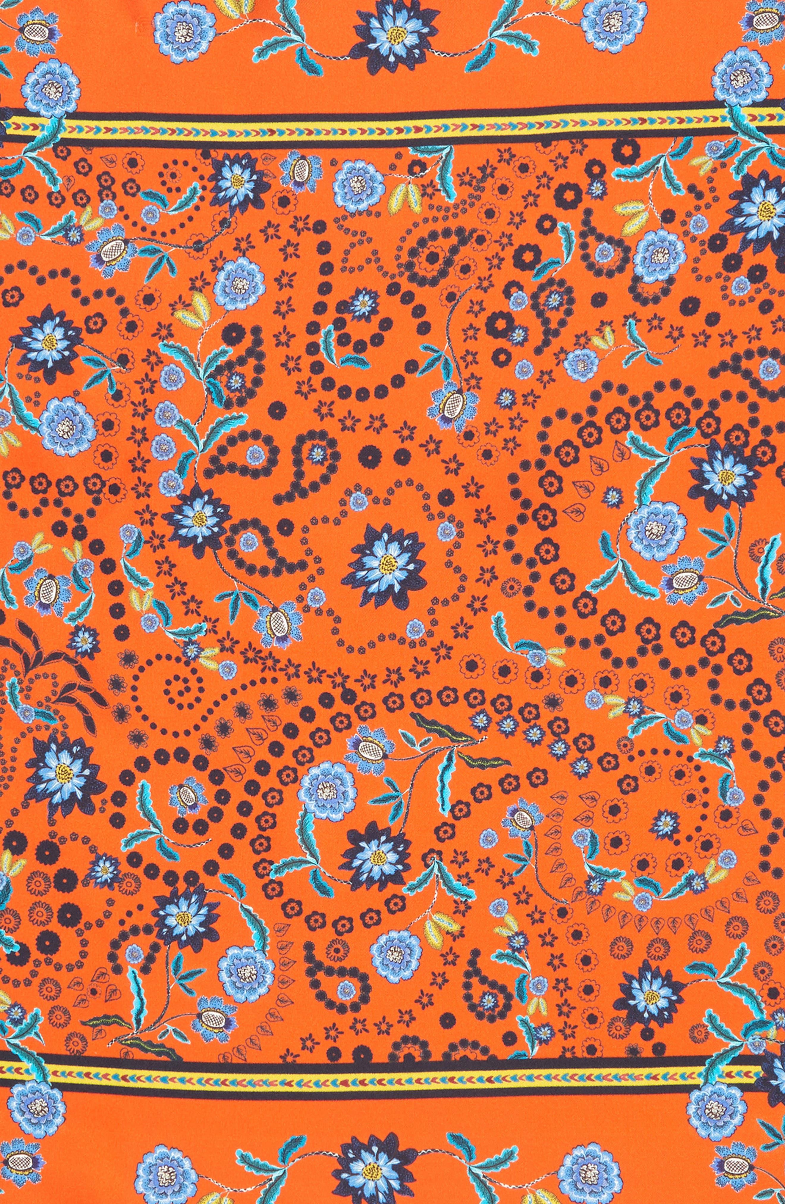 Mixed Floral Paisley Silk Bandana,                             Alternate thumbnail 3, color,                             Orange