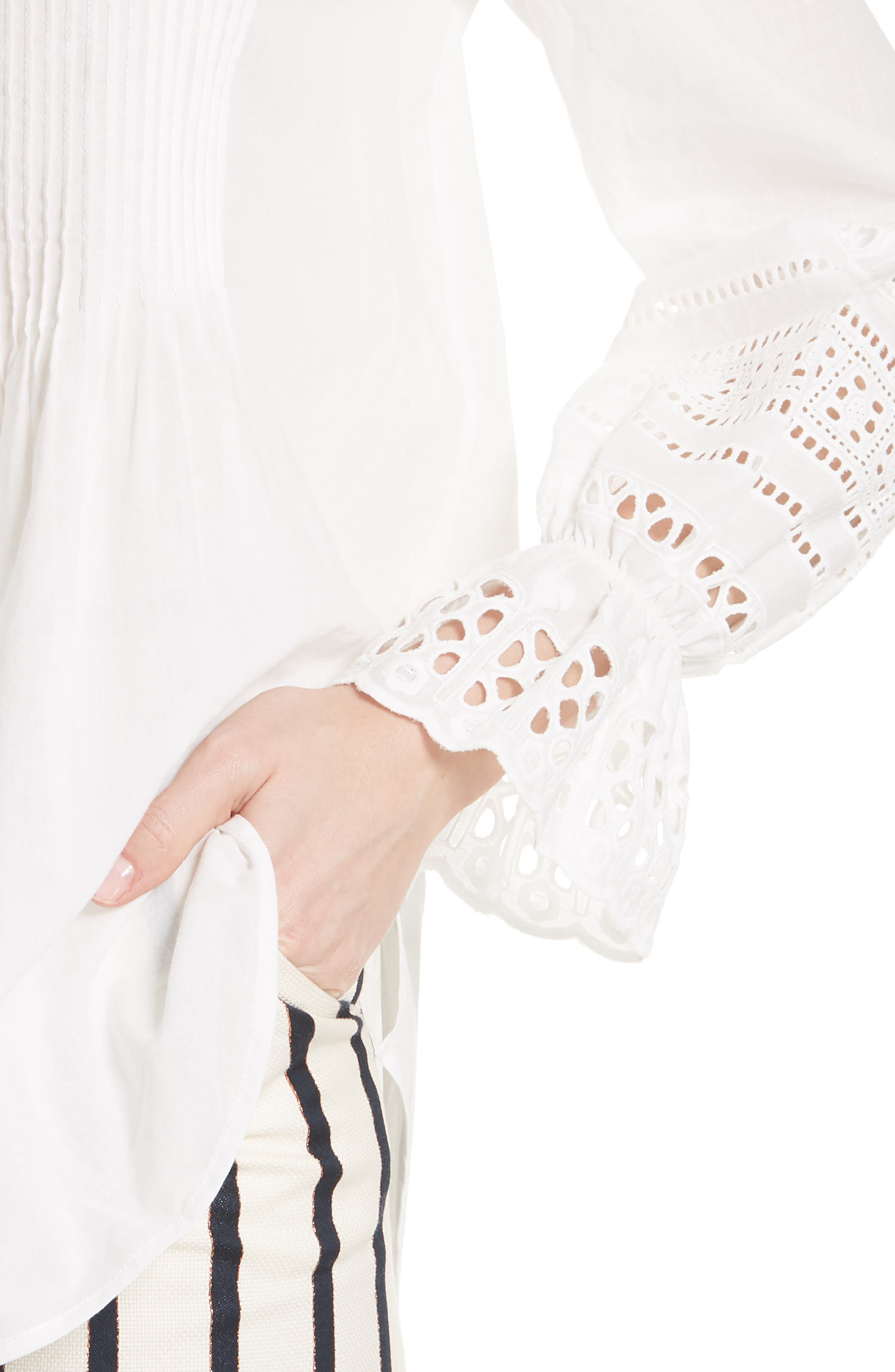 Mili Eyelet Sleeve Top,                             Alternate thumbnail 4, color,                             White